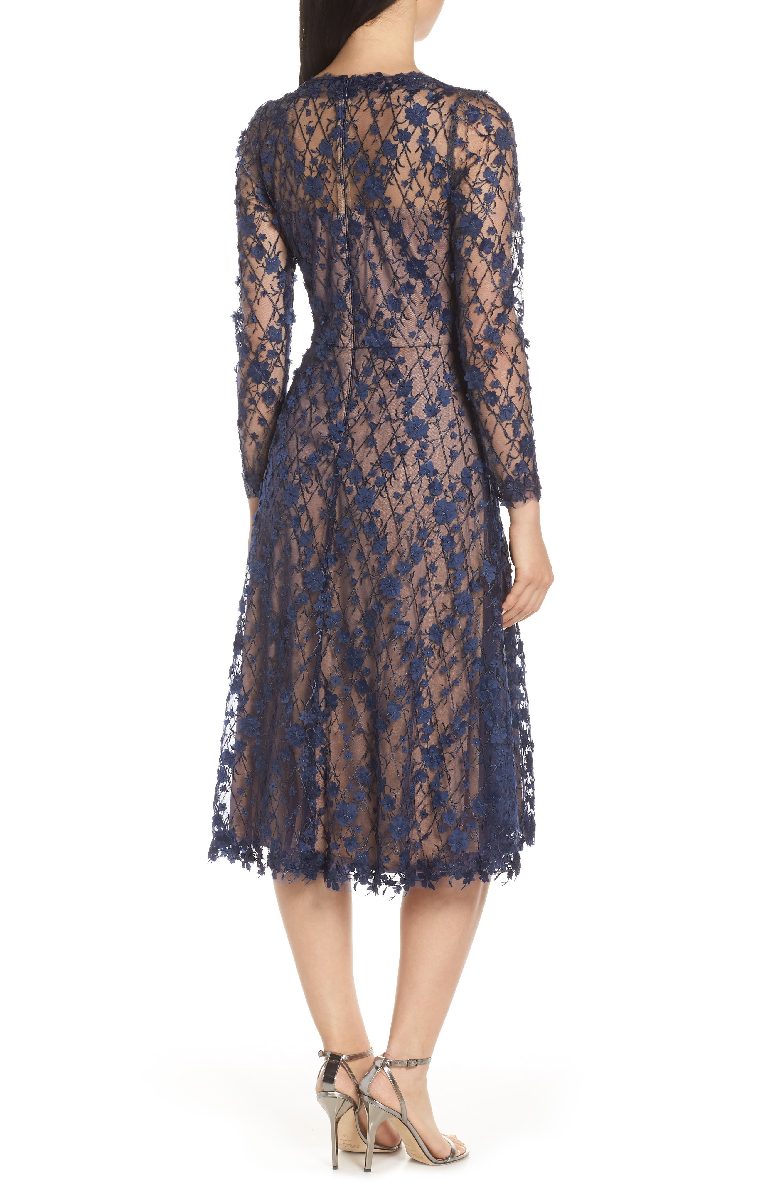 3D Flowers Lace Dress,                             Alternate thumbnail 2, color,                             MIDNIGHT/ NUDE