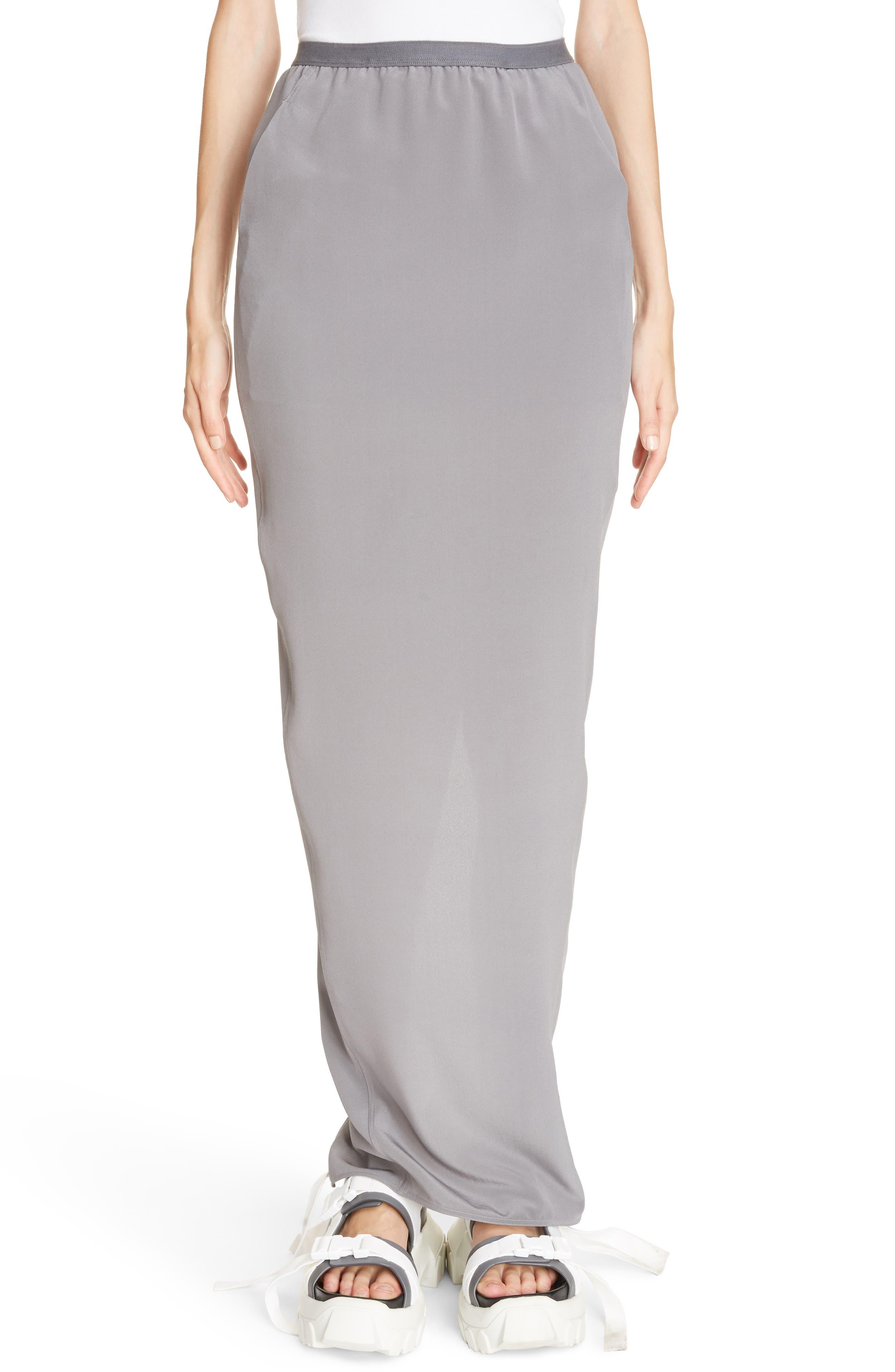 Split Back Silk Skirt,                             Main thumbnail 1, color,                             020