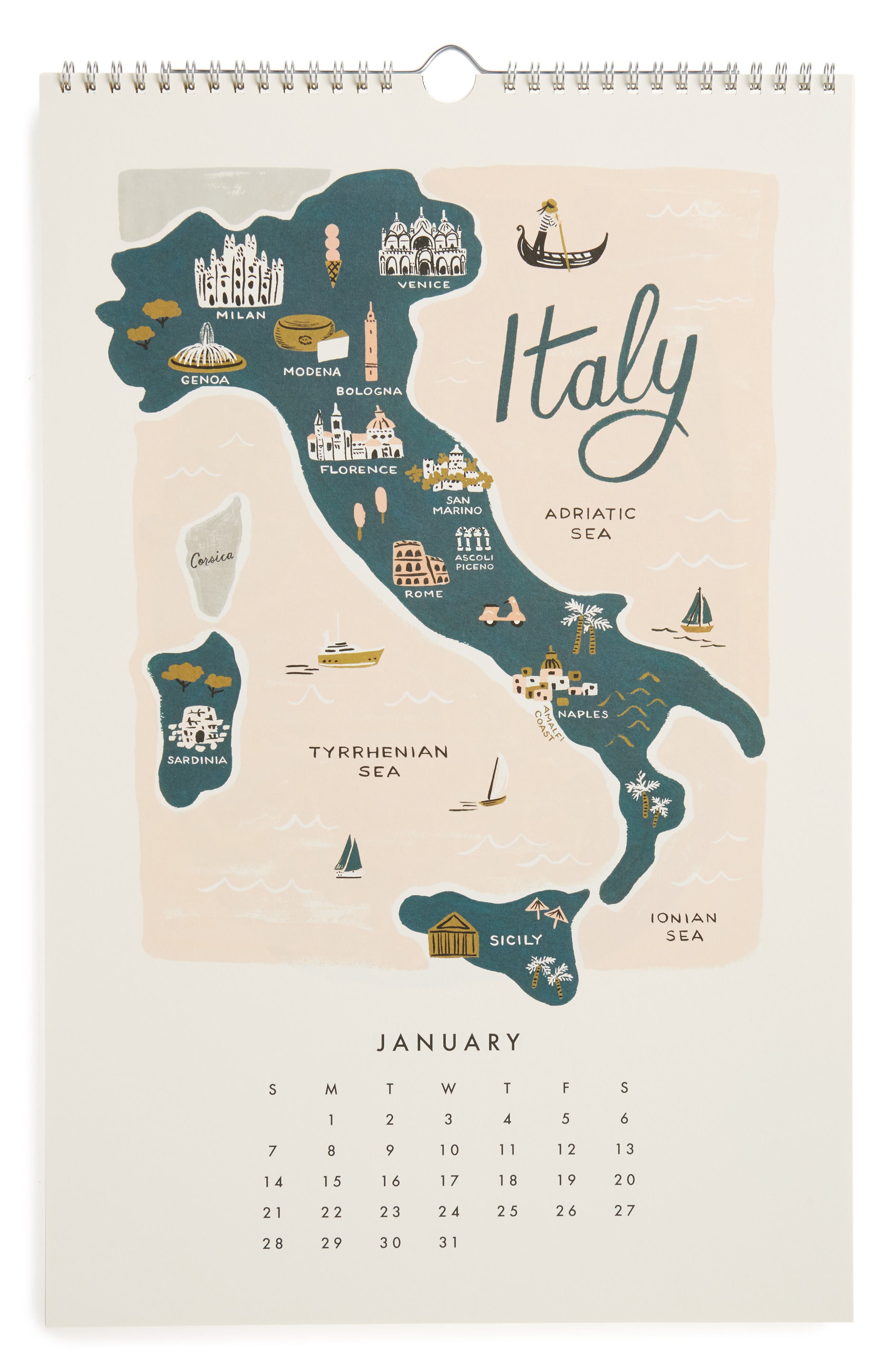 RIFLE PAPER CO.,                             Maps of the World 2018 Calendar,                             Alternate thumbnail 2, color,                             001