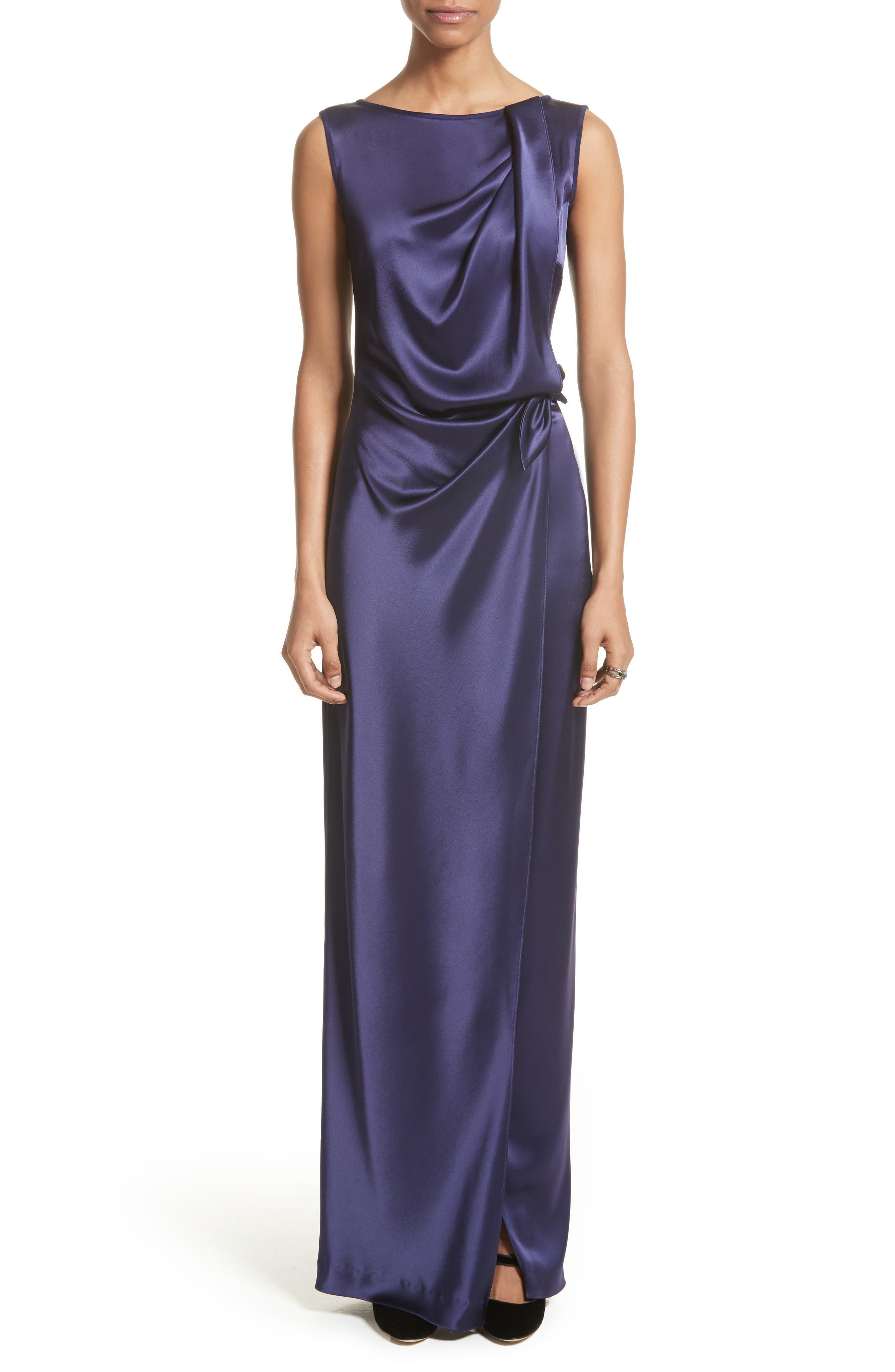 Liquid Satin Drape Front Column Gown,                         Main,                         color,