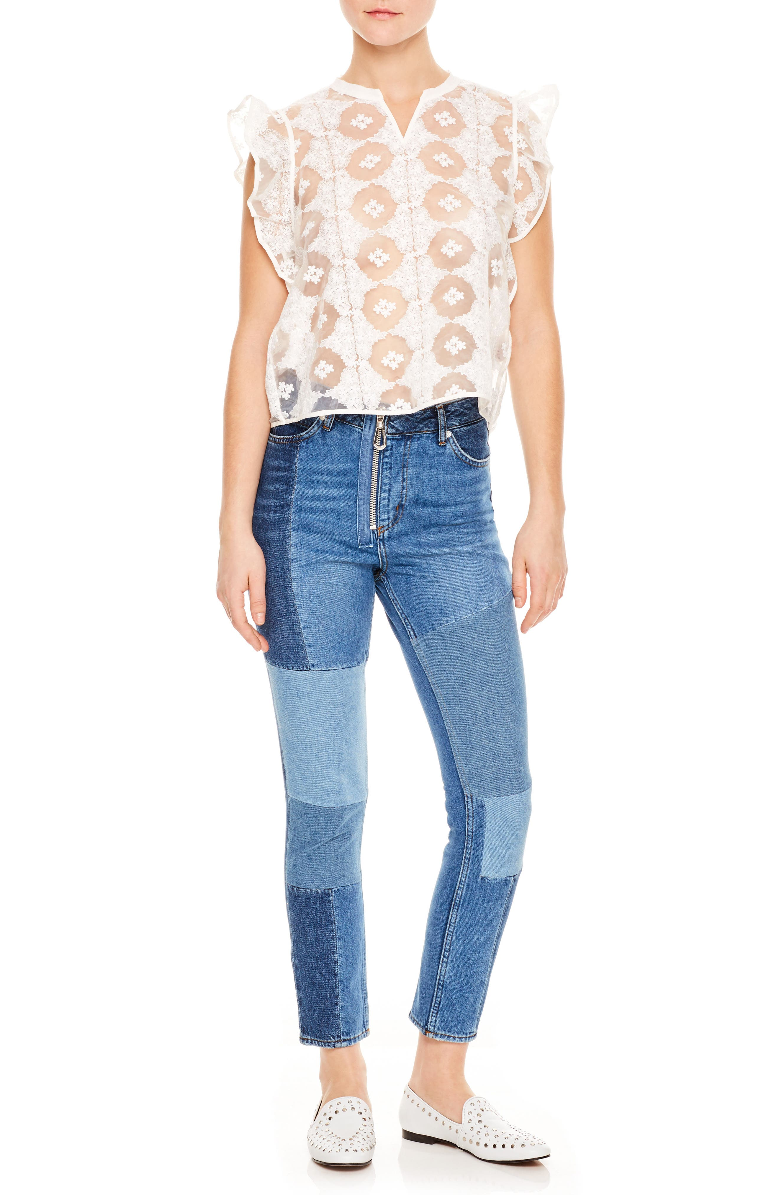 Blanc Ruffle Sleeve Split Neck Lace Top,                             Main thumbnail 1, color,                             100