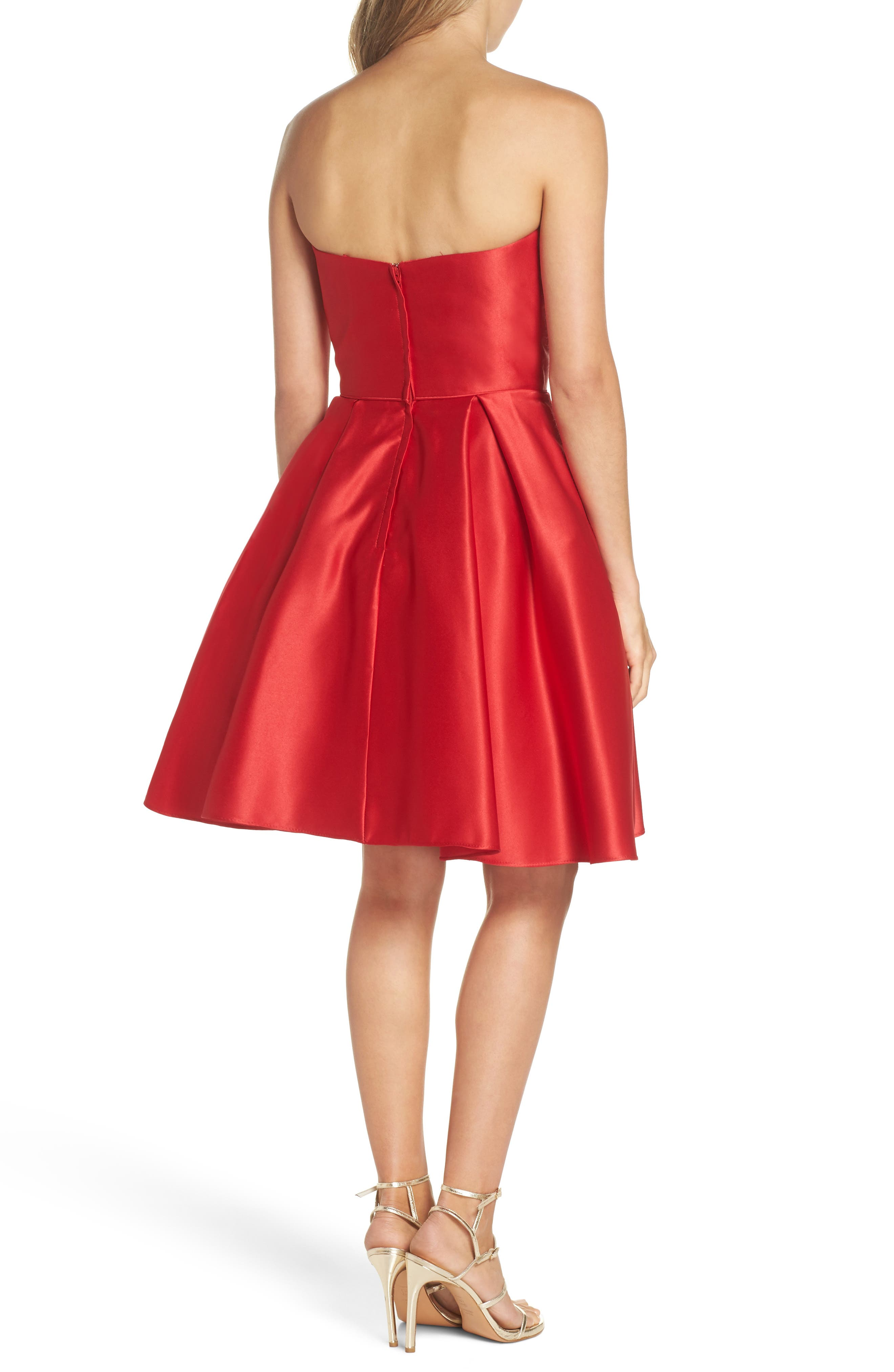 Strapless Satin Fit & Flare Party Dress,                             Alternate thumbnail 2, color,                             RED