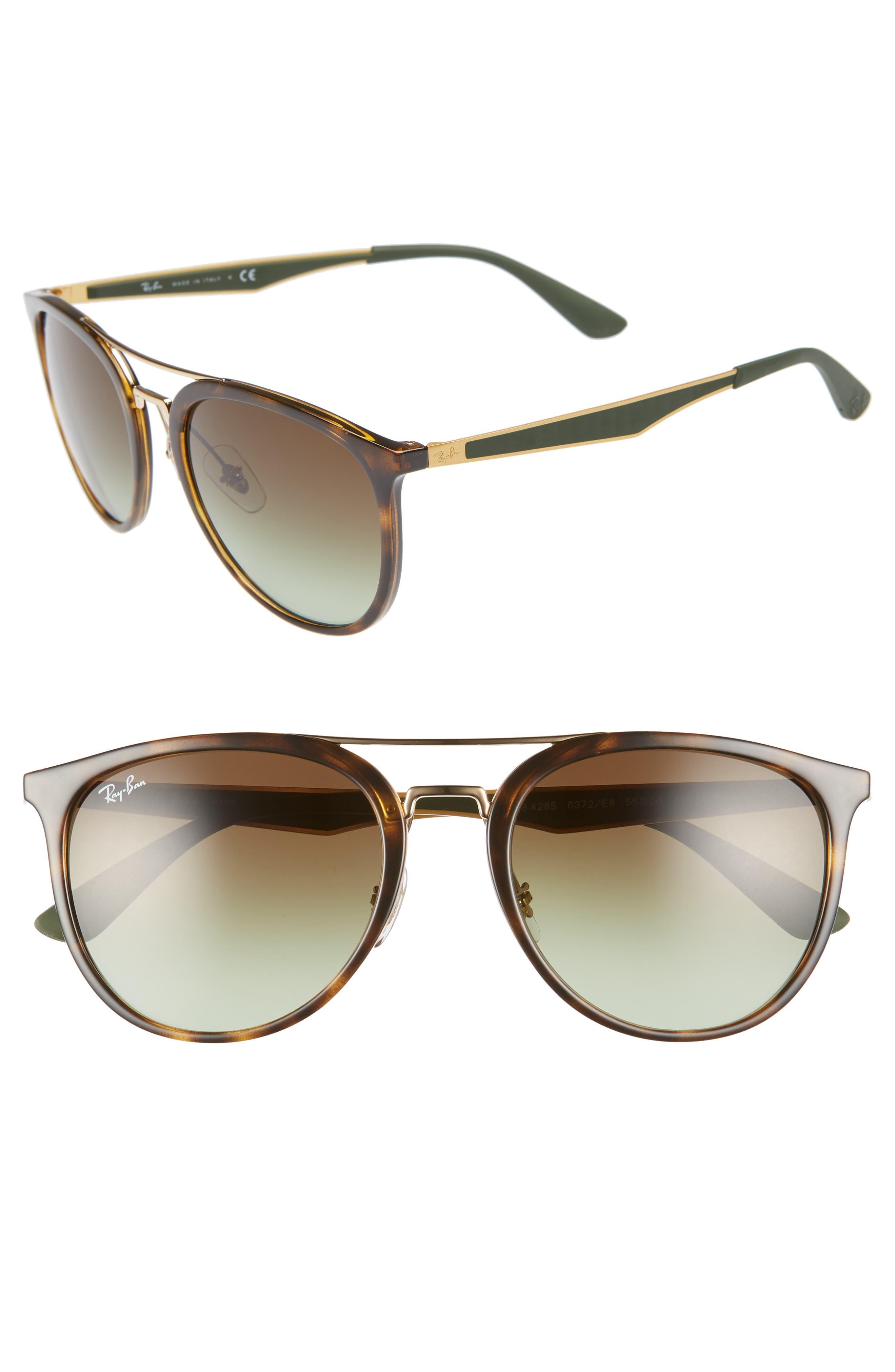 55mm Retro Sunglasses,                             Main thumbnail 1, color,                             HAVANA