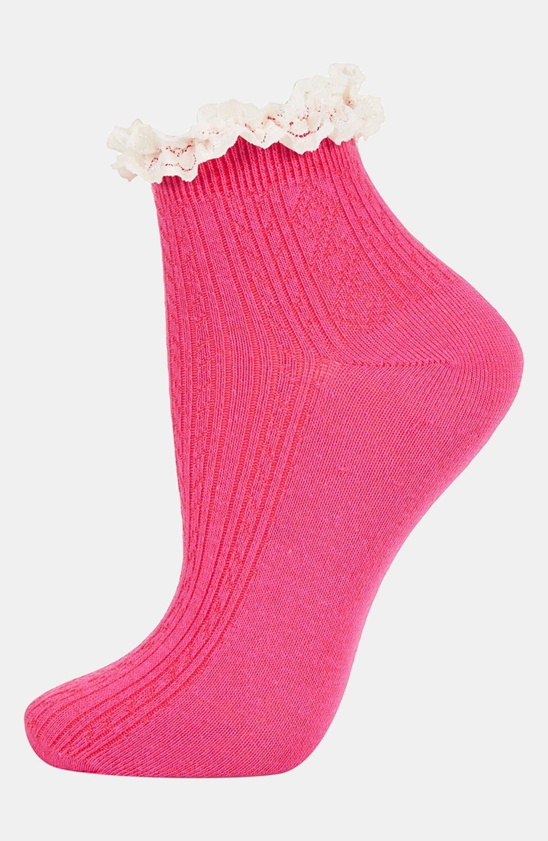 Lace Trim Ankle Socks,                             Main thumbnail 22, color,