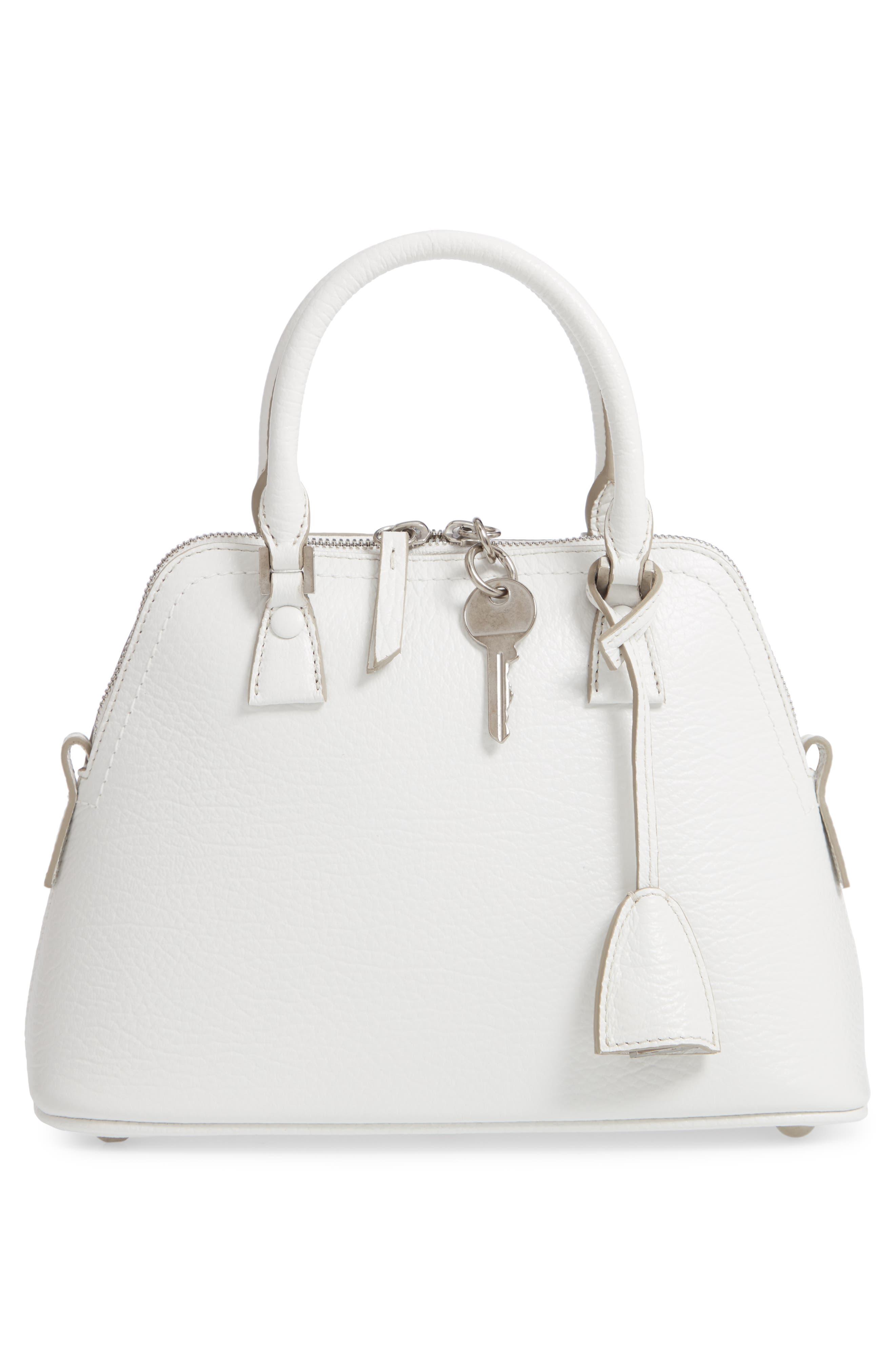Small 5AC Calfskin Leather Handbag,                             Alternate thumbnail 3, color,                             WHITE