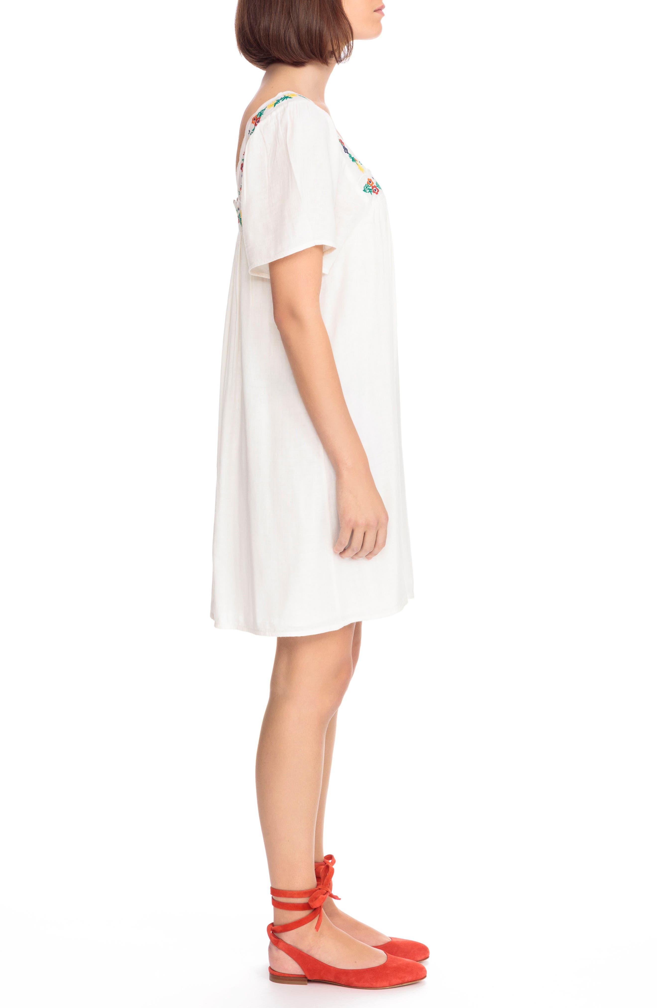Caitlin Embroidered Shift Dress,                             Alternate thumbnail 3, color,