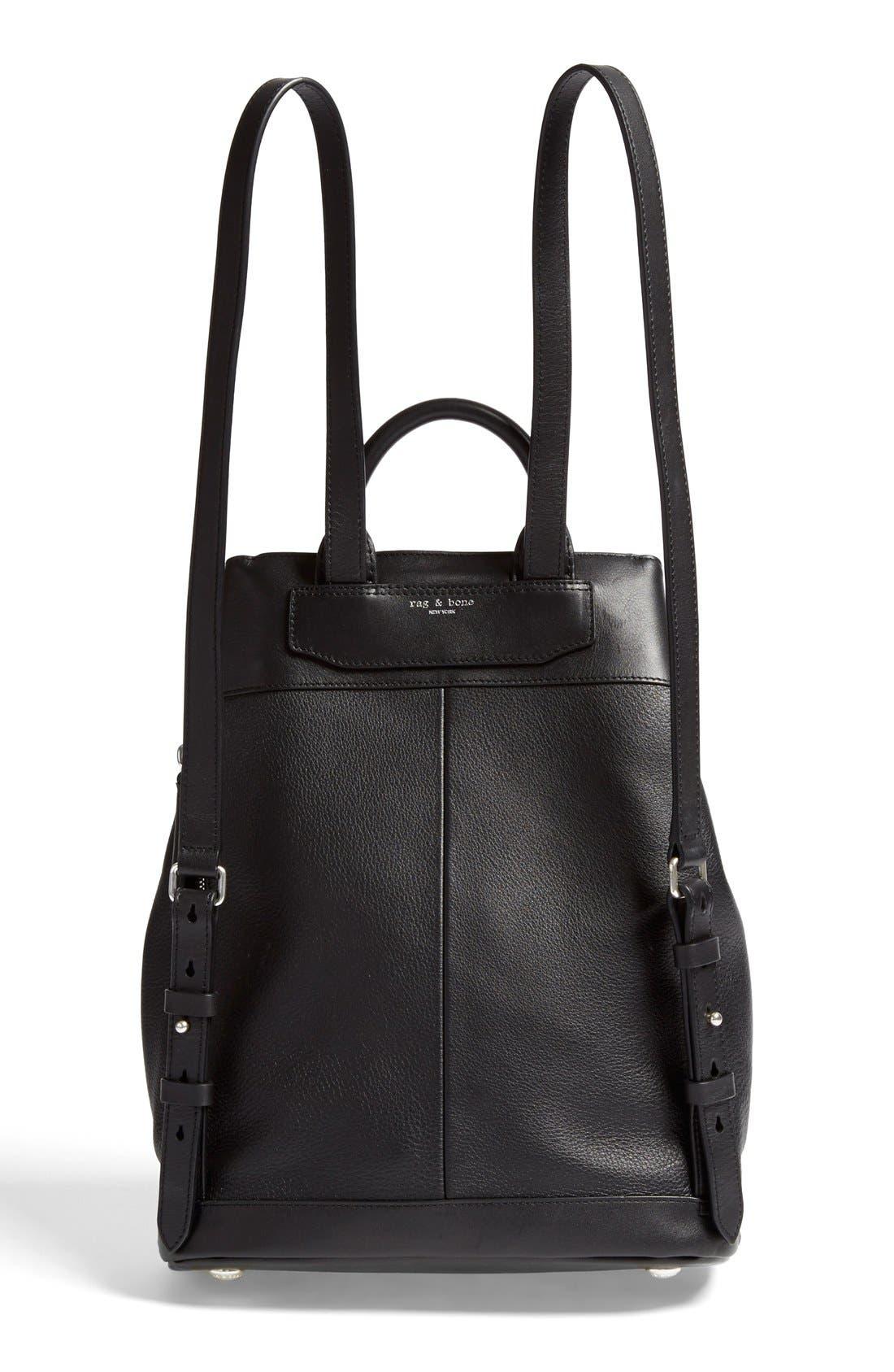 RAG & BONE,                             'Pilot' Leather Backpack,                             Alternate thumbnail 3, color,                             001