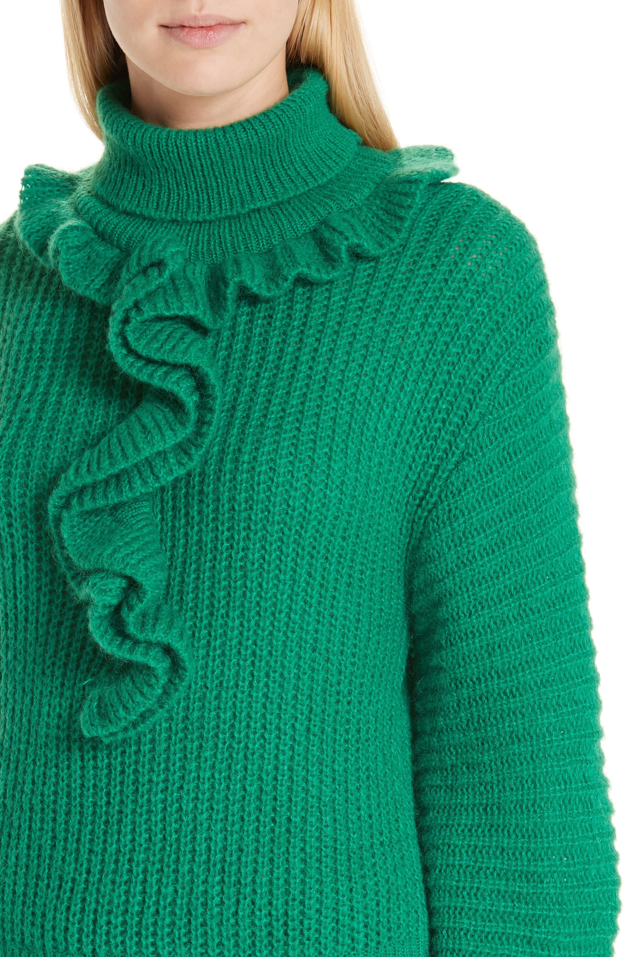 Ruffle Neck Sweater,                             Alternate thumbnail 4, color,                             GRASS GREEN