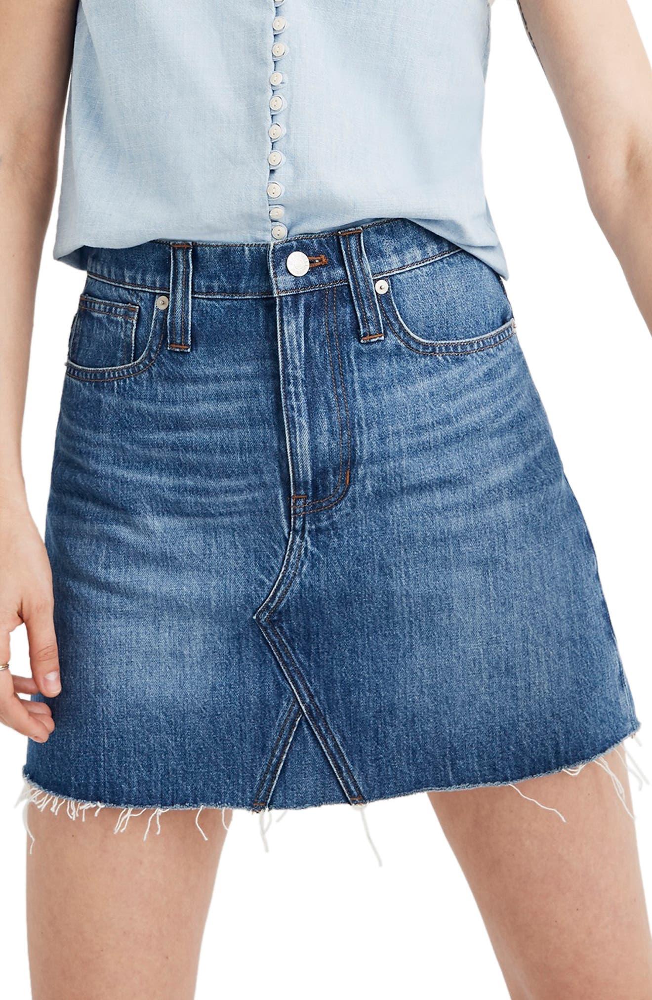 Madewell Eco Edition Rigid Denim A-Line Miniskirt, 7 - Blue