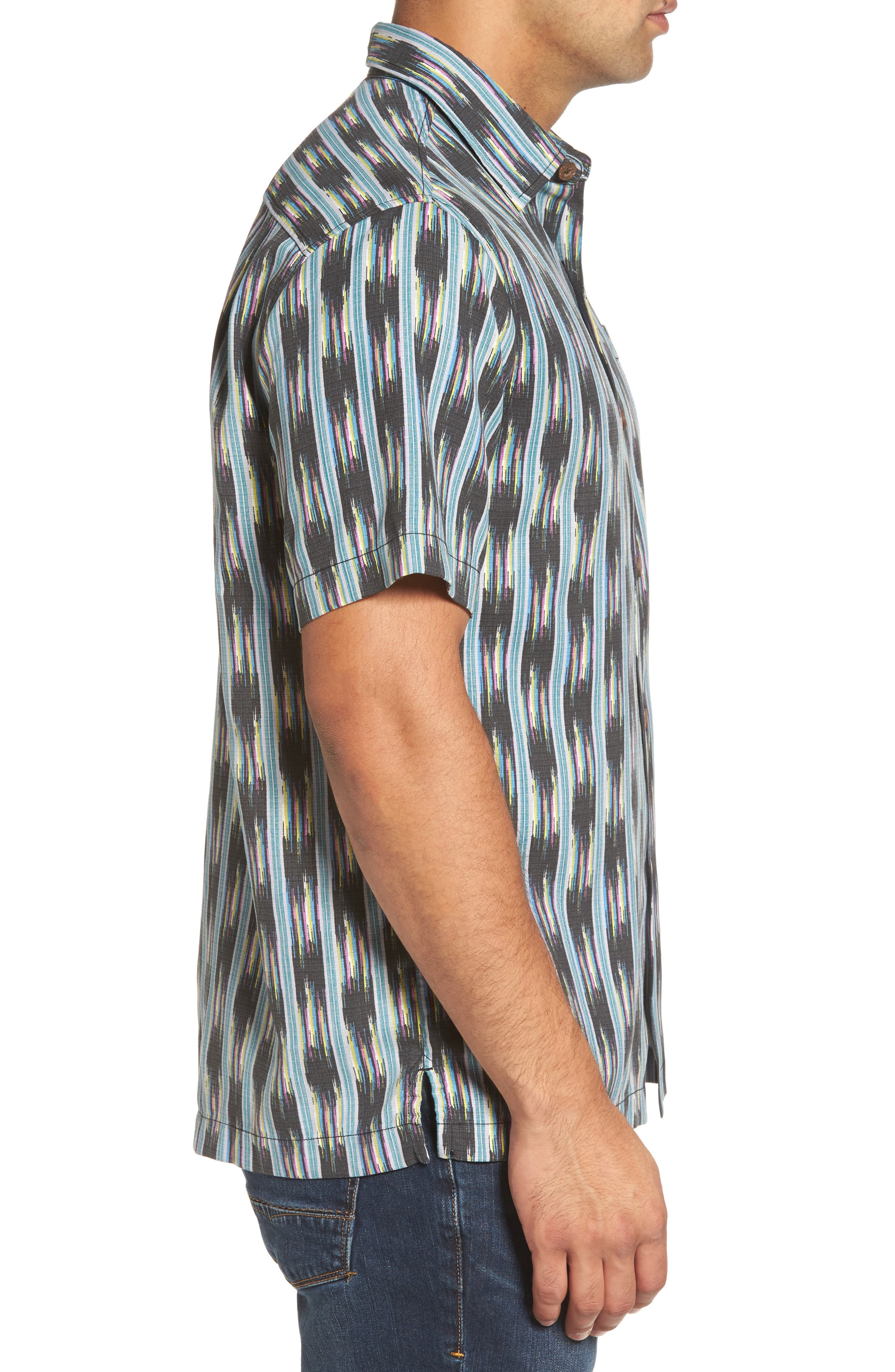 Ikat on a Hot Tin Roof Standard Fit Silk Blend Camp Shirt,                             Alternate thumbnail 3, color,                             001