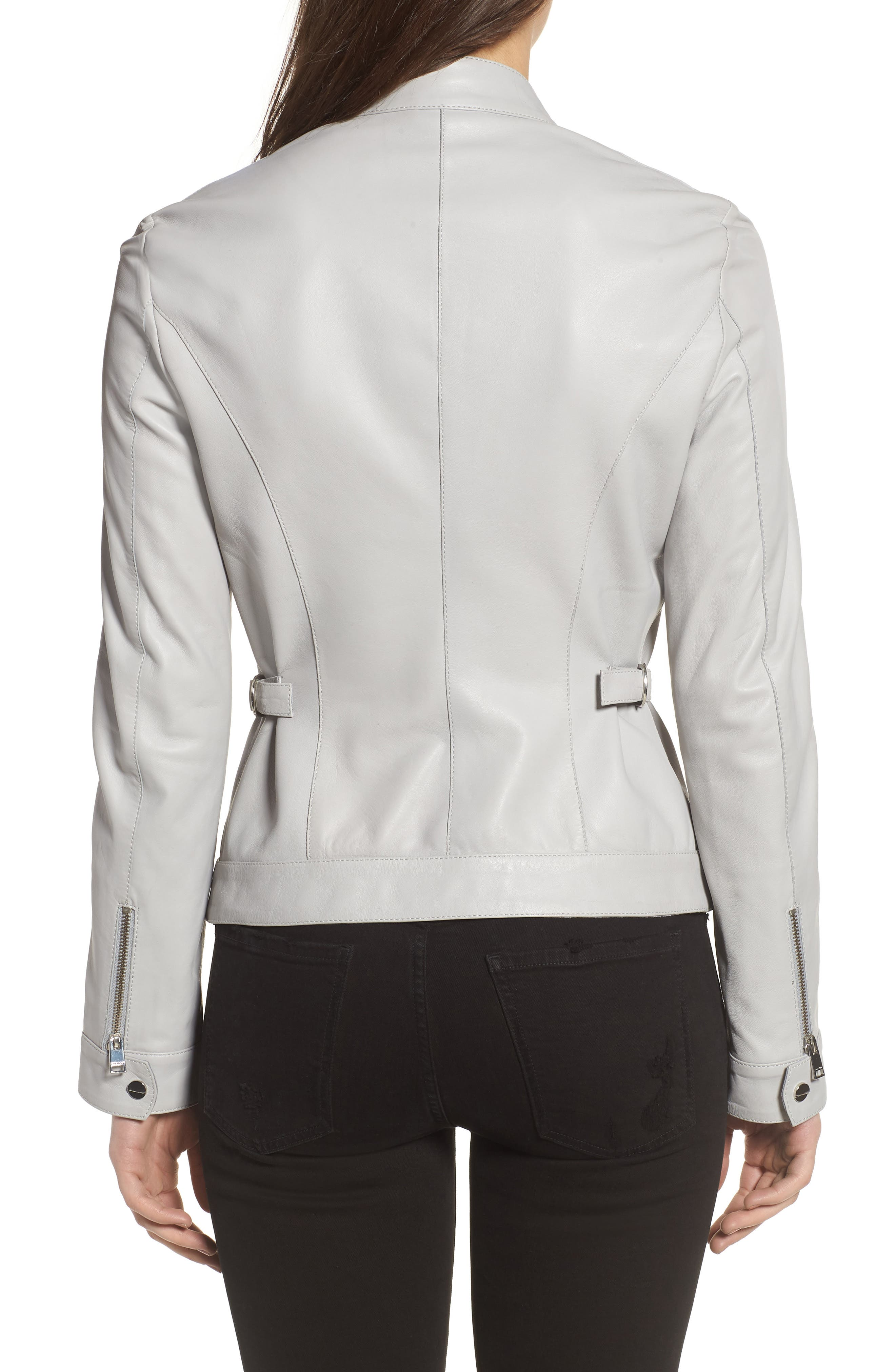 Lambskin Leather Biker Jacket,                             Alternate thumbnail 2, color,                             AIR GREY