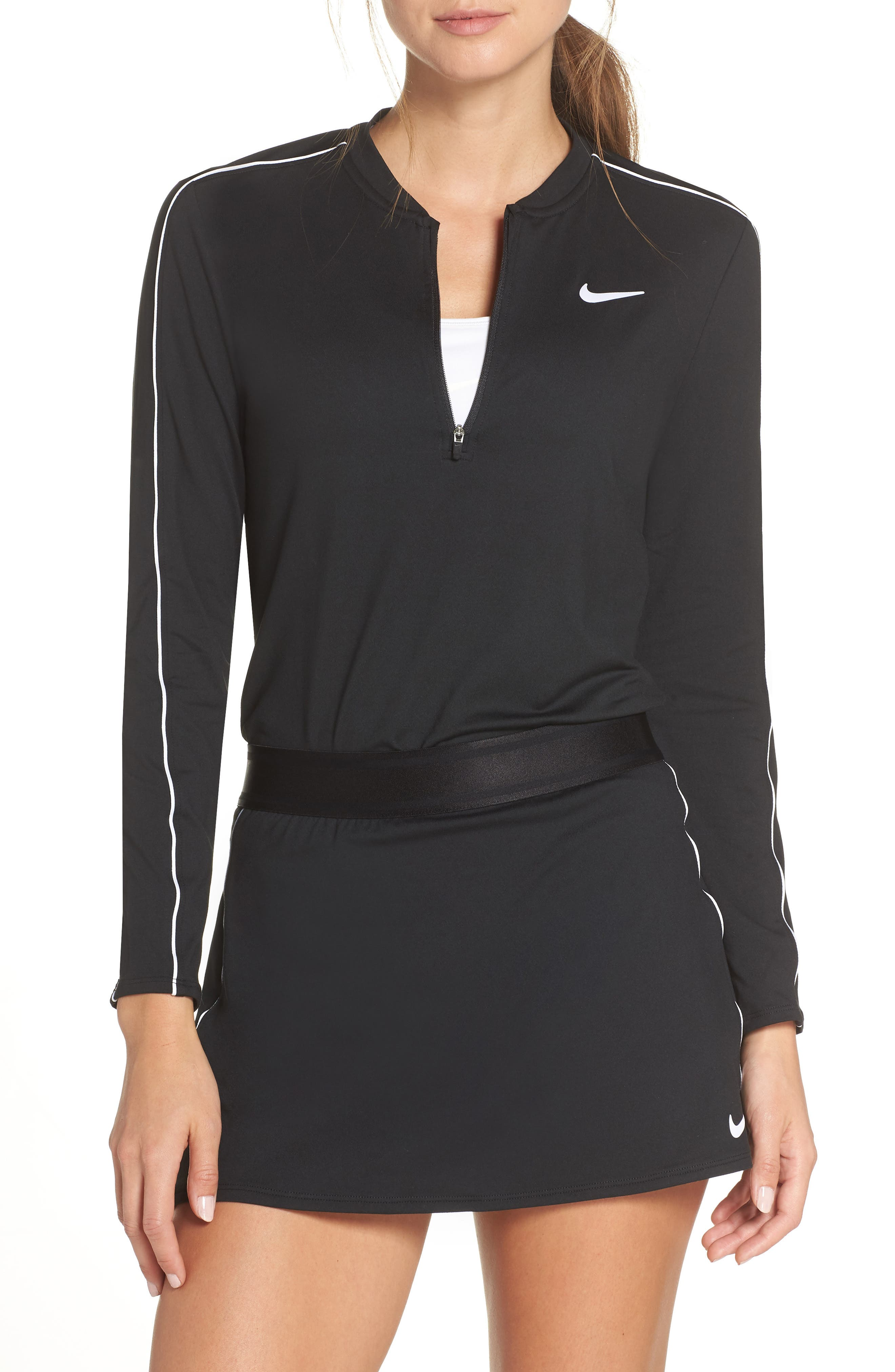 Court Dri-FIT Quarter Zip Top,                             Main thumbnail 1, color,                             BLACK/ WHITE/ WHITE/ BLACK
