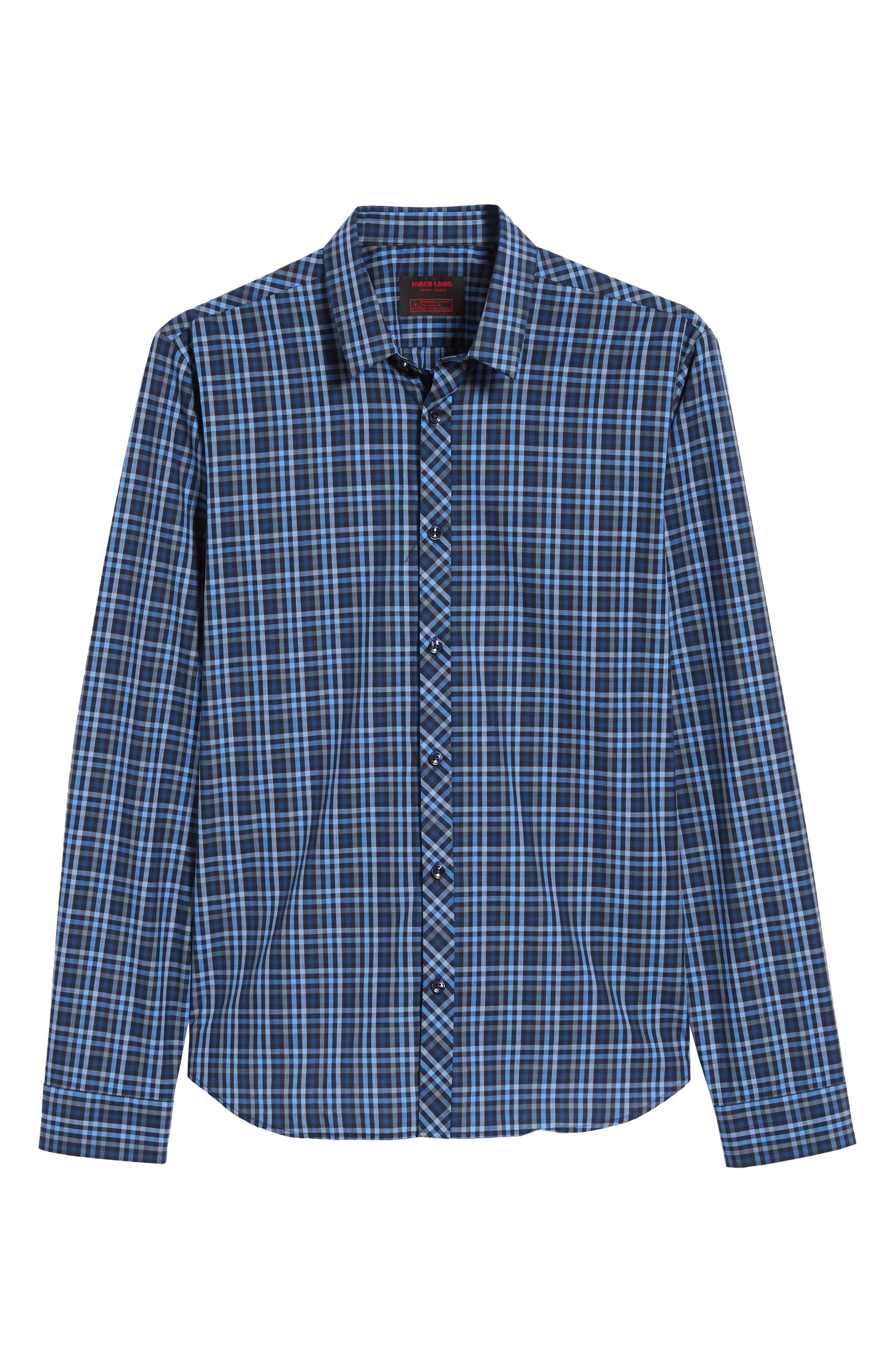 Trim Fit Sport Shirt,                             Alternate thumbnail 5, color,                             NAVY - BLUE MULTI CHECK