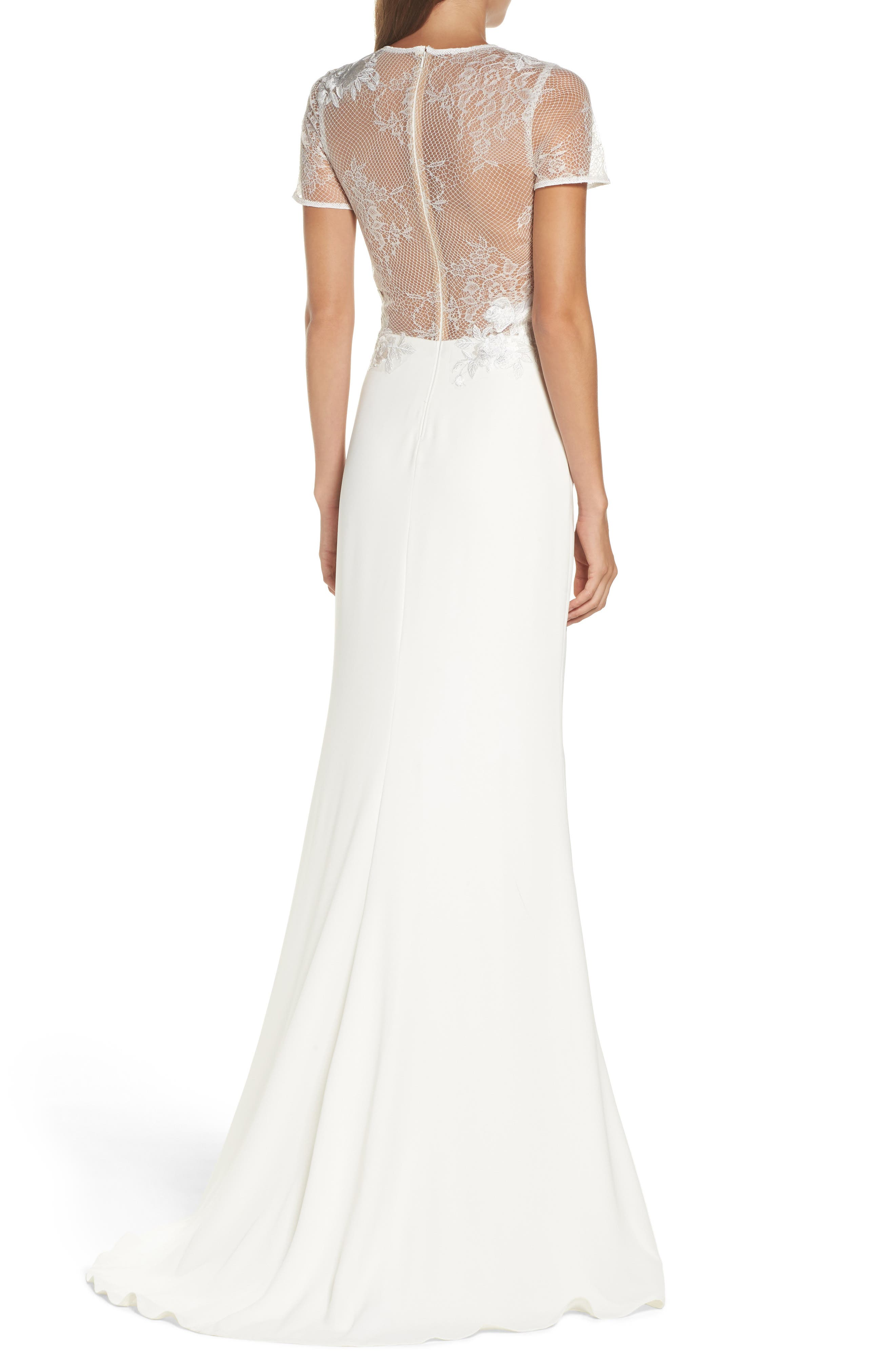 Floral Mesh Top Trumpet Gown,                             Alternate thumbnail 2, color,                             IVORY