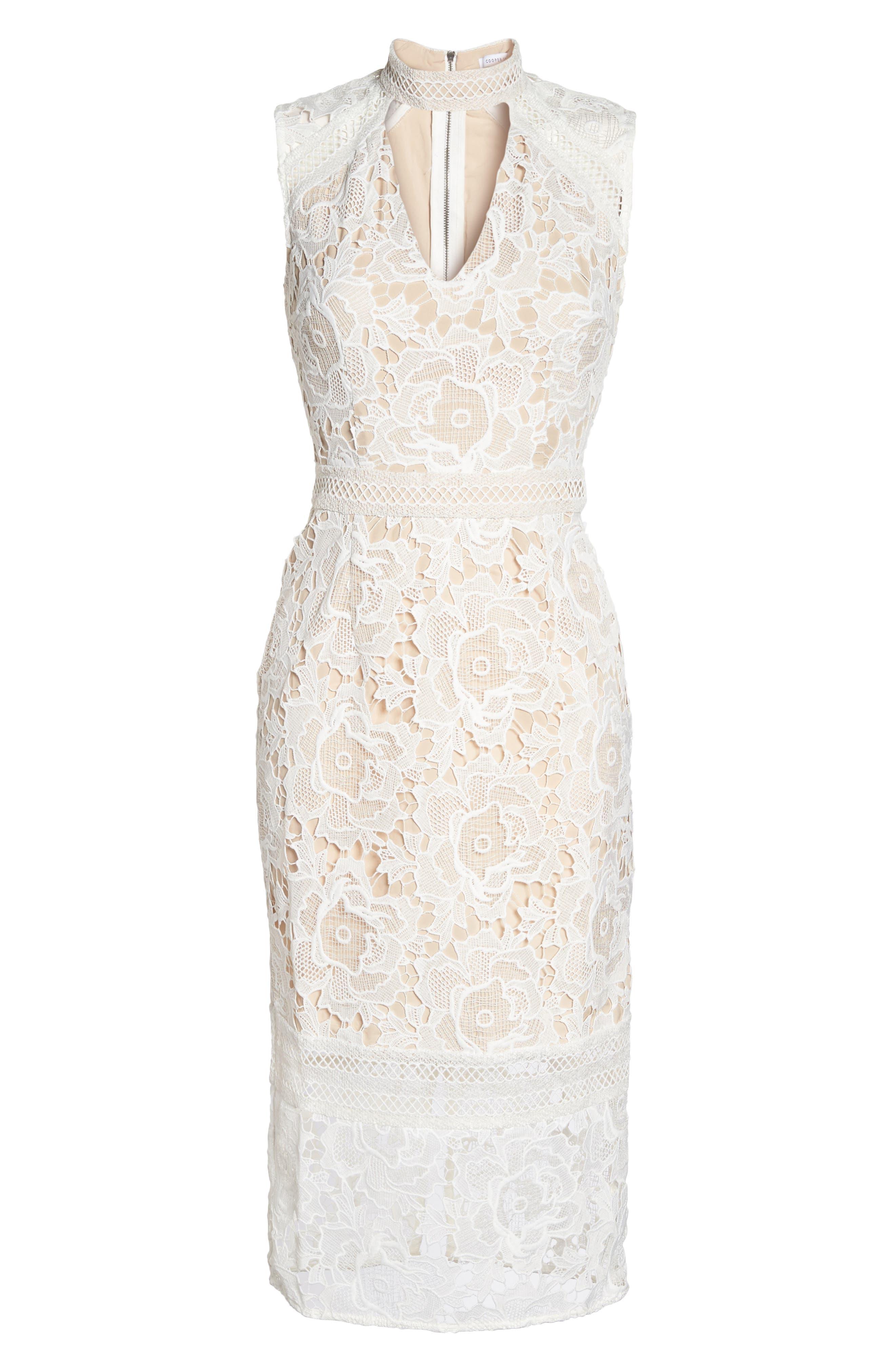 Alessandra Lace Choker Midi Dress,                             Alternate thumbnail 6, color,                             100