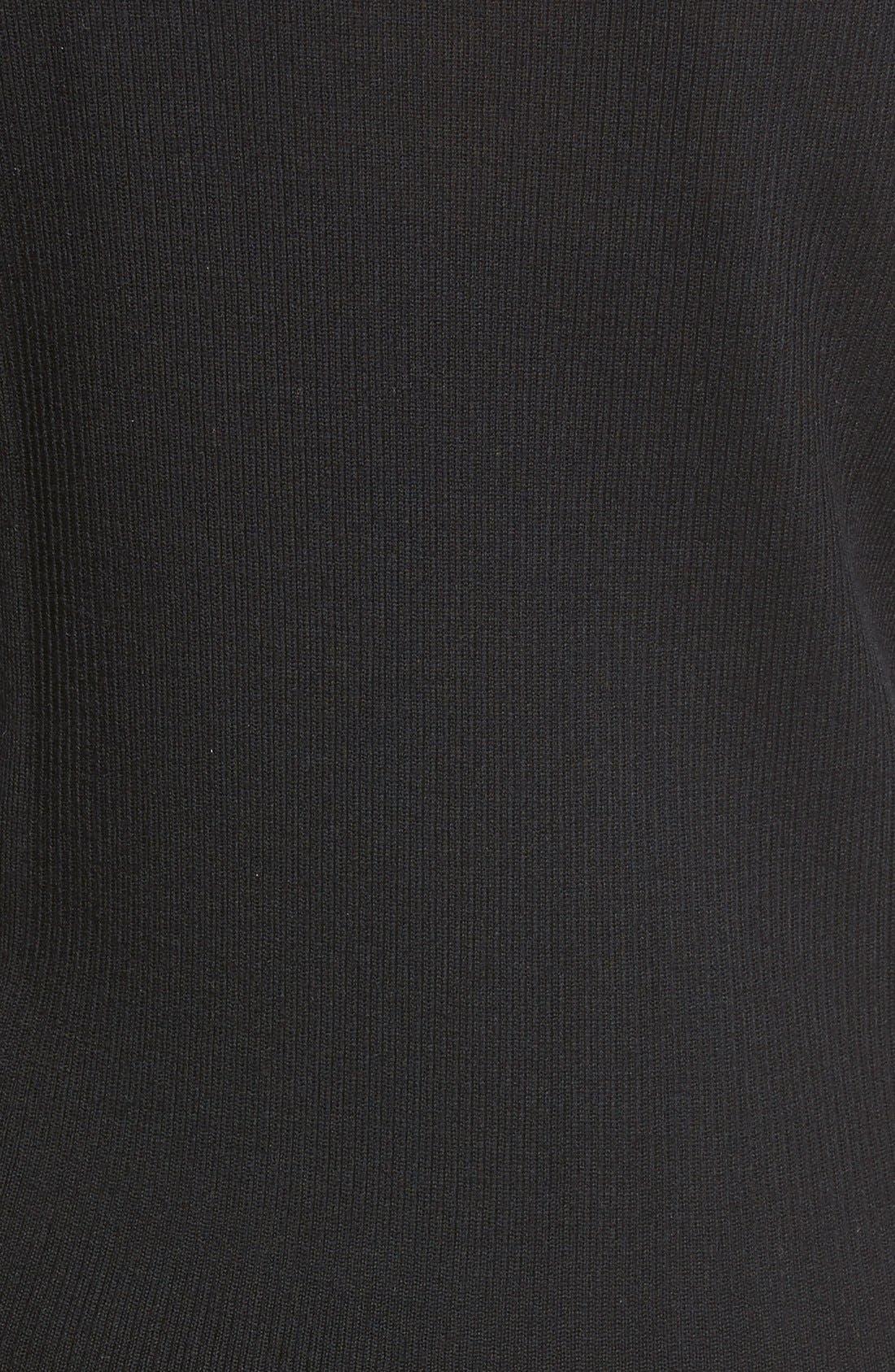 HALOGEN<SUP>®</SUP>,                             Rib Detail Lightweight Merino Wool Sweater,                             Alternate thumbnail 3, color,                             001
