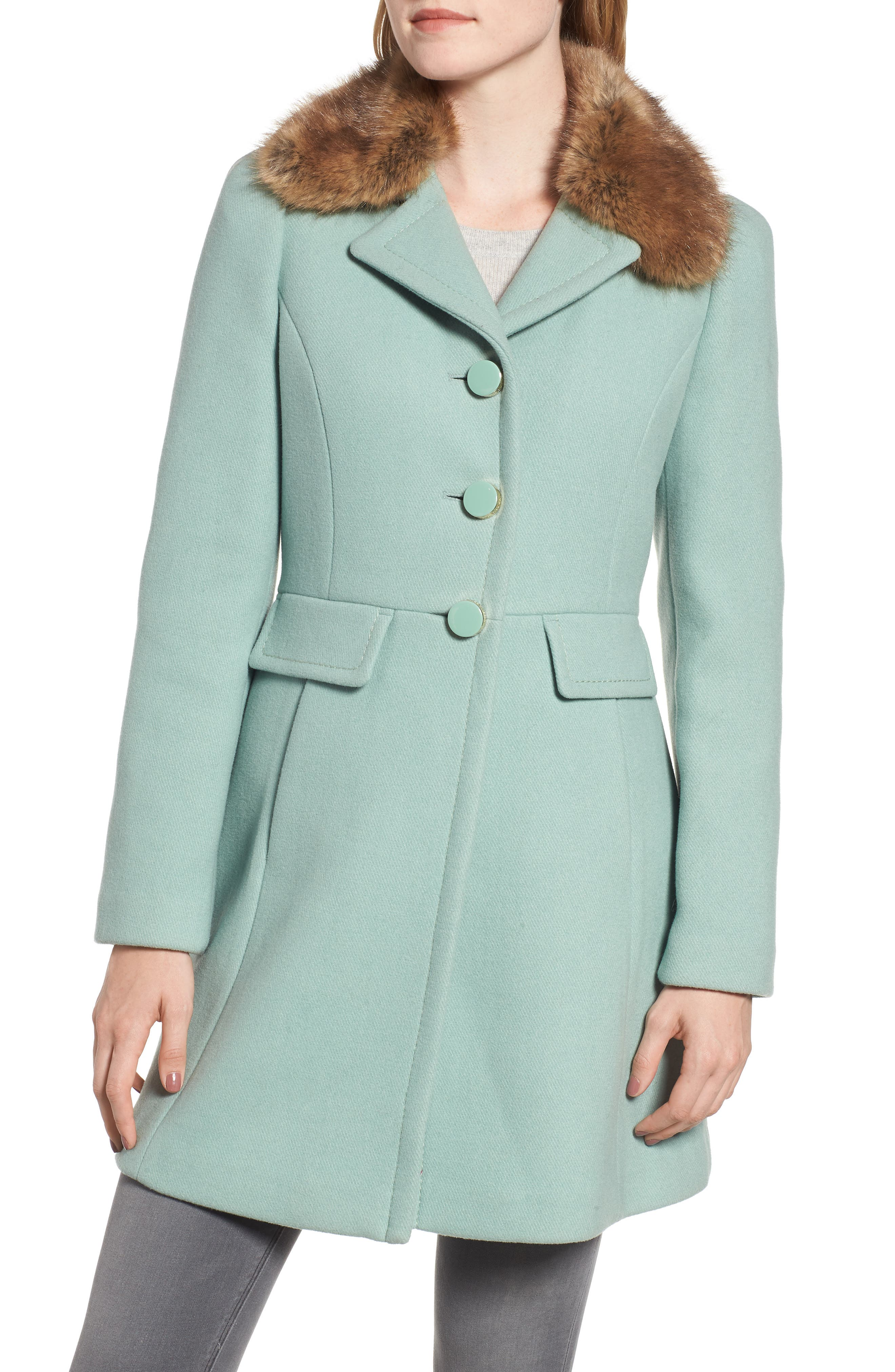 faux fur collar wool blend coat,                             Alternate thumbnail 4, color,                             300