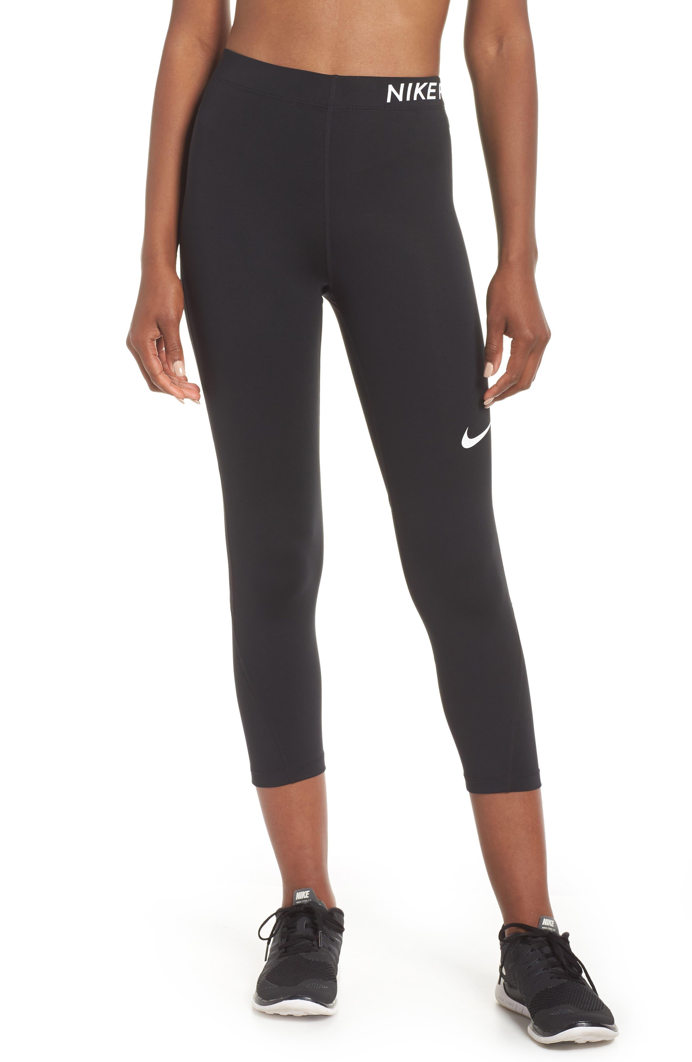Pro Training Capri Leggings,                         Main,                         color, BLACK/ BLACK/ WHITE