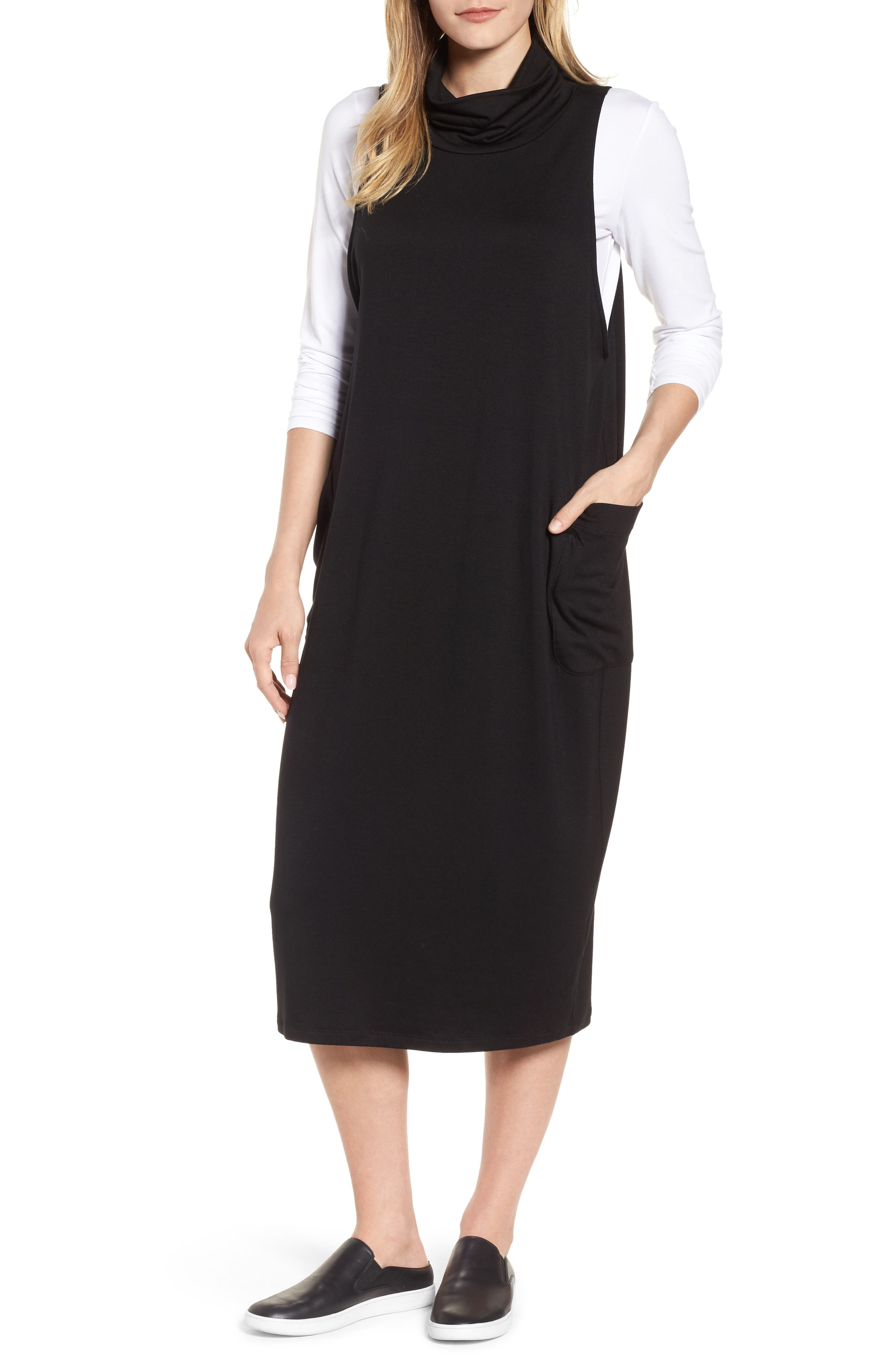 Stretch Tencel<sup>®</sup> Lyocell Knit Jumper Dress,                         Main,                         color, 001