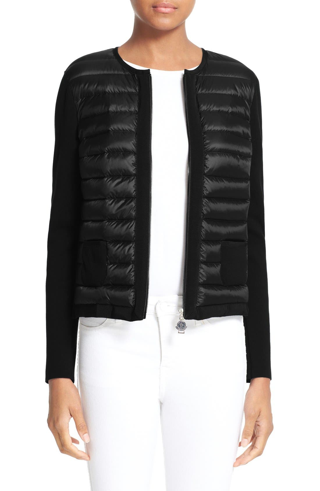 MONCLER,                             Maglia Quilted Down Front Tricot Cardigan,                             Main thumbnail 1, color,                             001