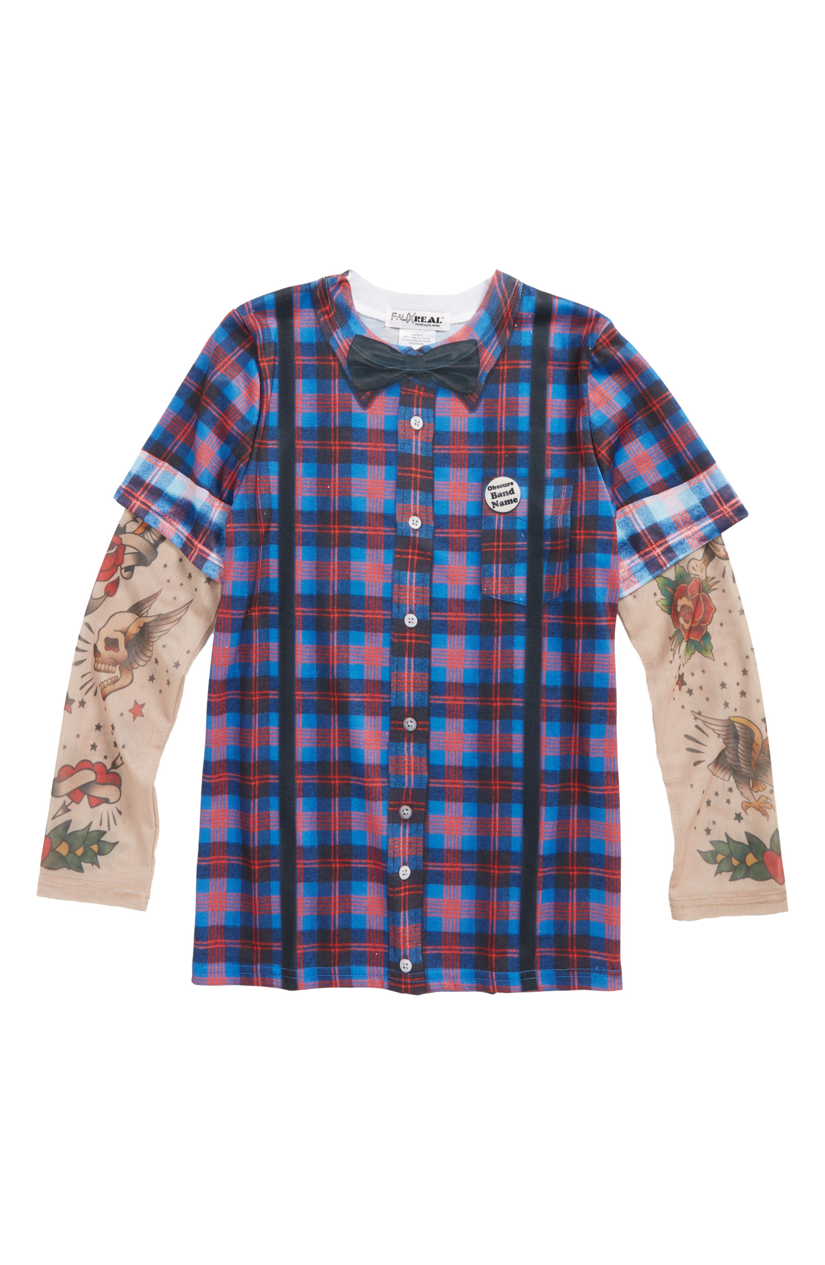 Hipster Bow Tie & Suspender Print T-Shirt with Tattoo Print Sleeves,                             Main thumbnail 1, color,                             400