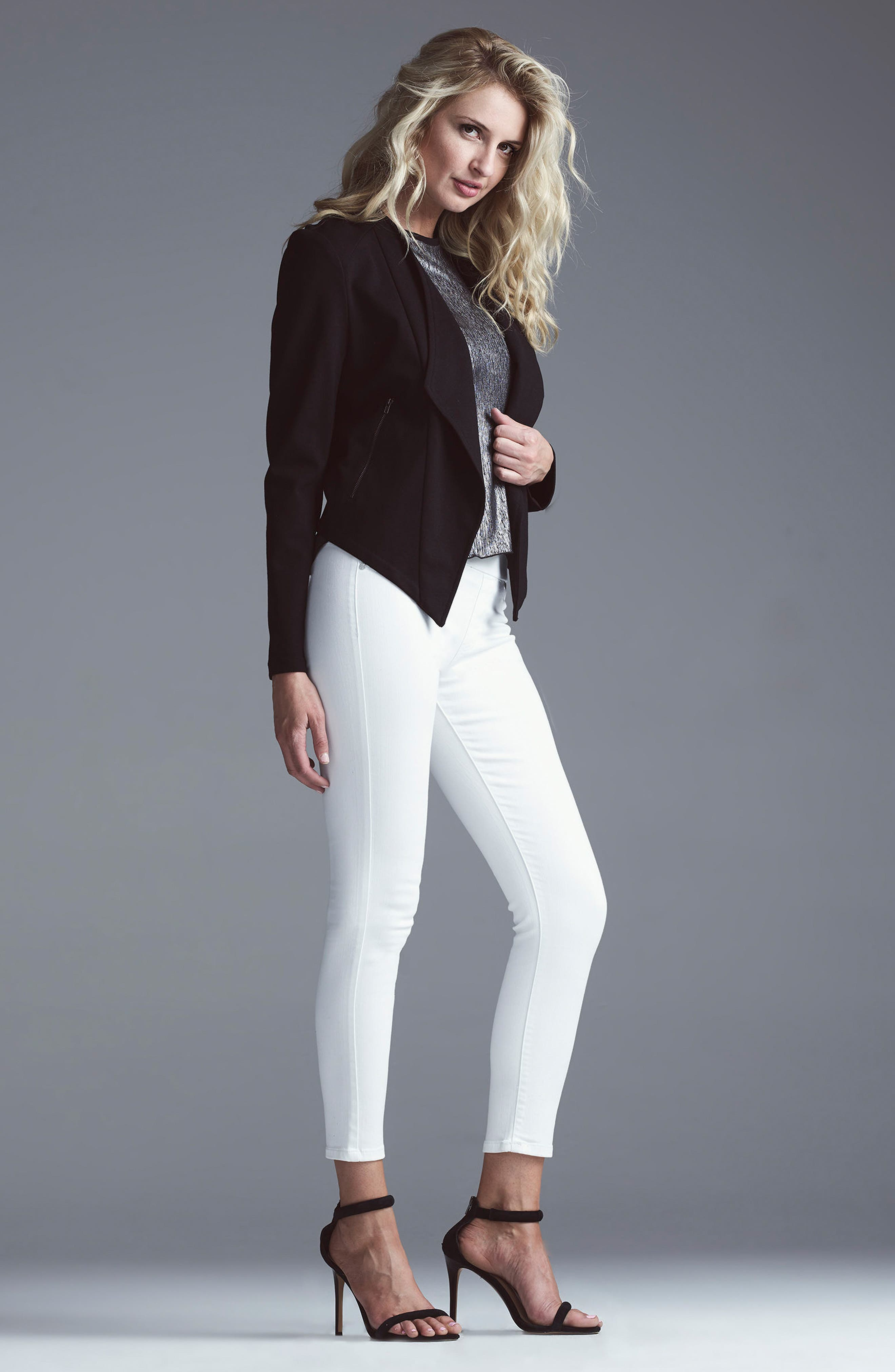 Sienna Pull-On Stretch Skinny Ankle Jeans,                             Alternate thumbnail 5, color,                             BRIGHT WHITE