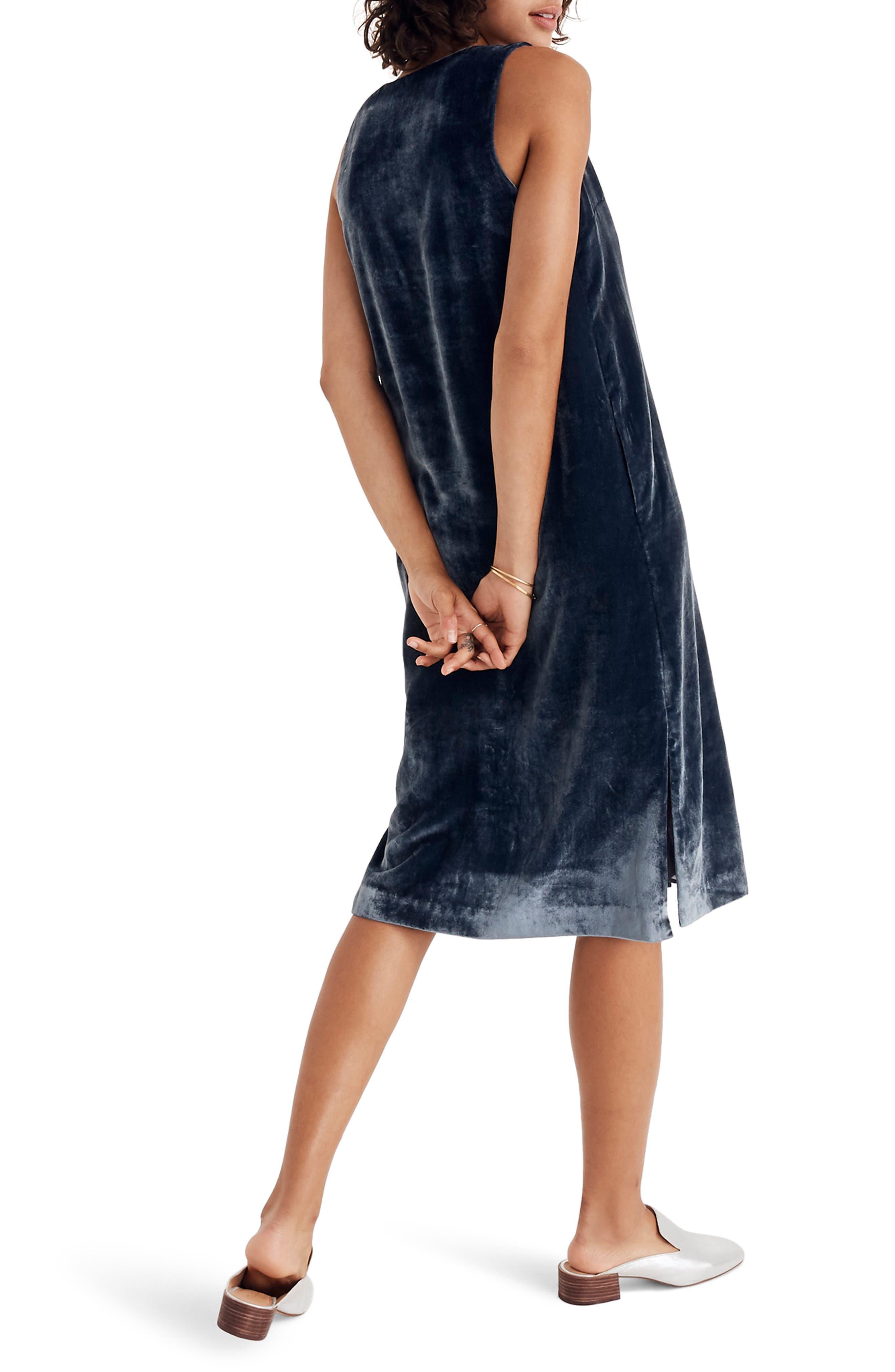 Velvet Button Front Midi Dress,                             Alternate thumbnail 2, color,                             400