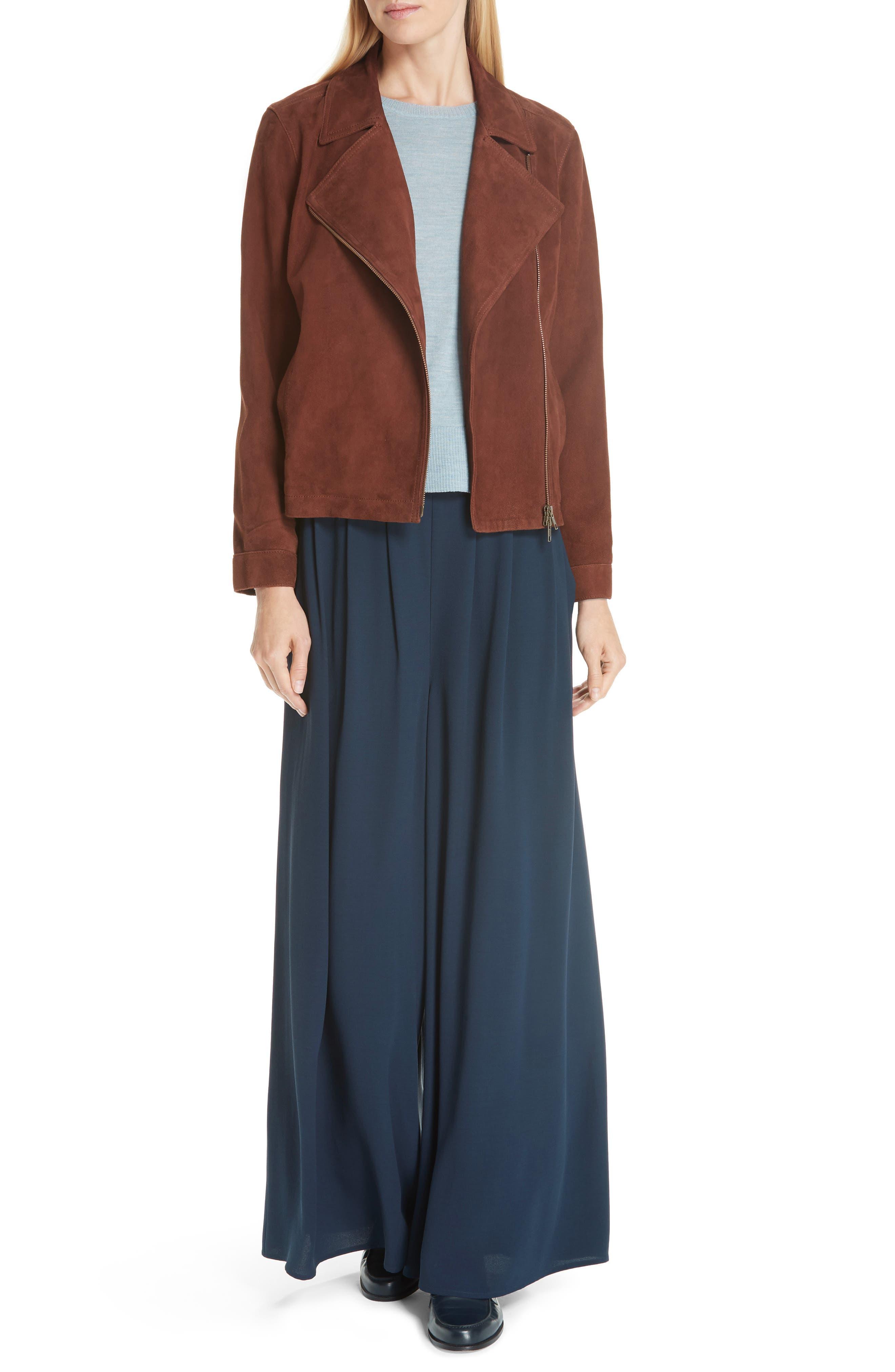 Asymmetrical Zip Suede Jacket,                             Alternate thumbnail 7, color,                             NUTMEG