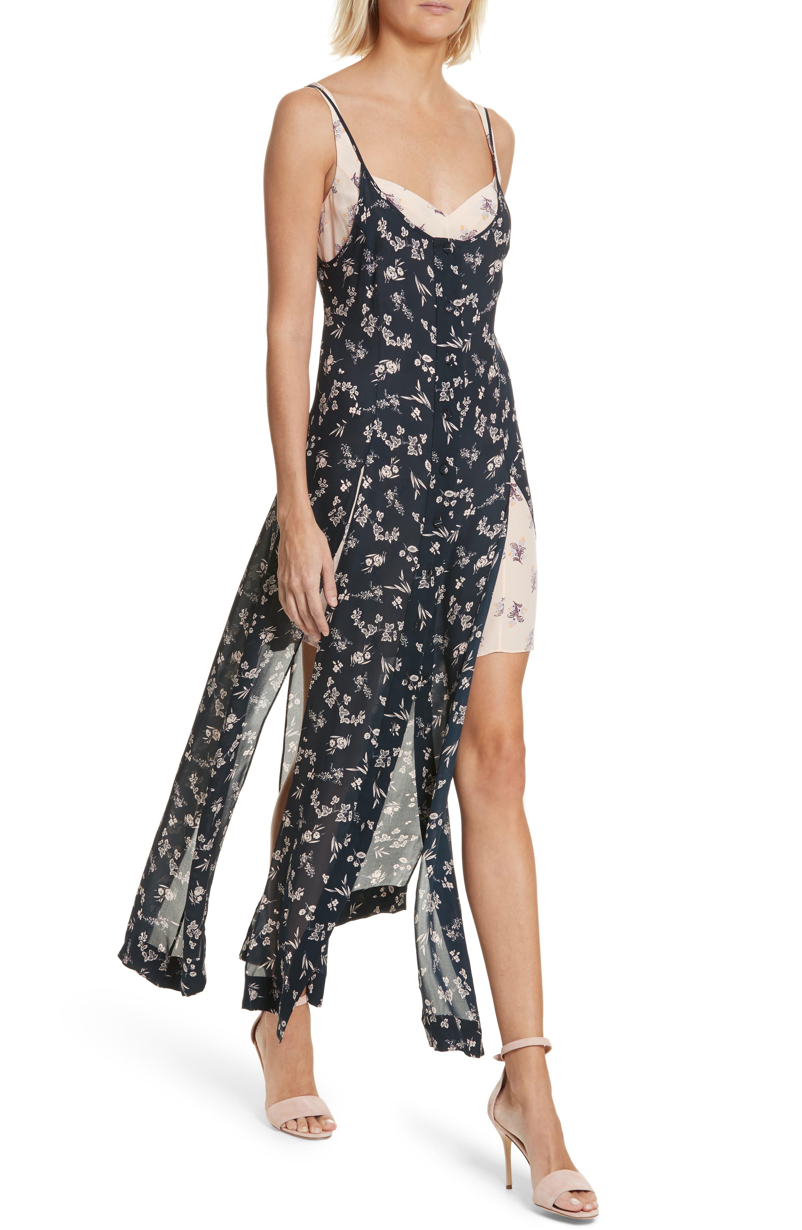Jocelyn Floral Print Layered Silk Dress,                             Alternate thumbnail 4, color,                             499