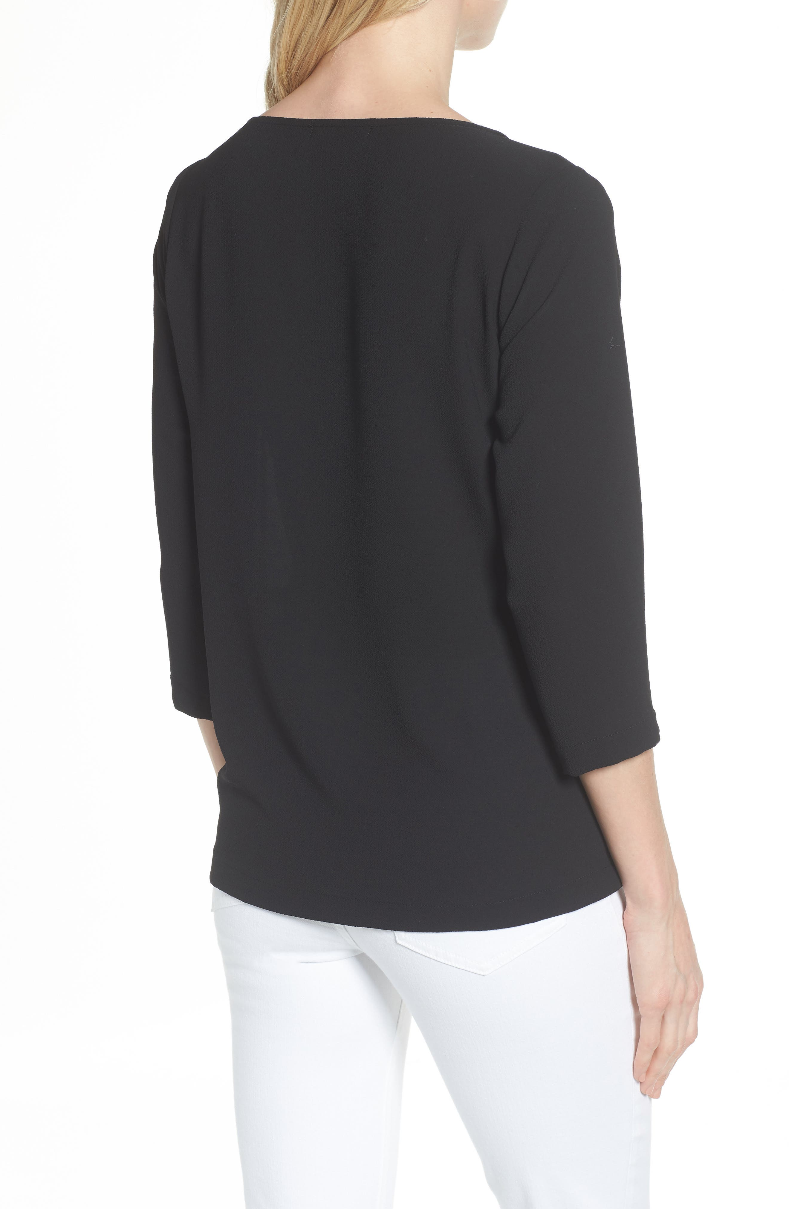 GIBSON,                             Tie Front Crepe Top,                             Alternate thumbnail 2, color,                             001