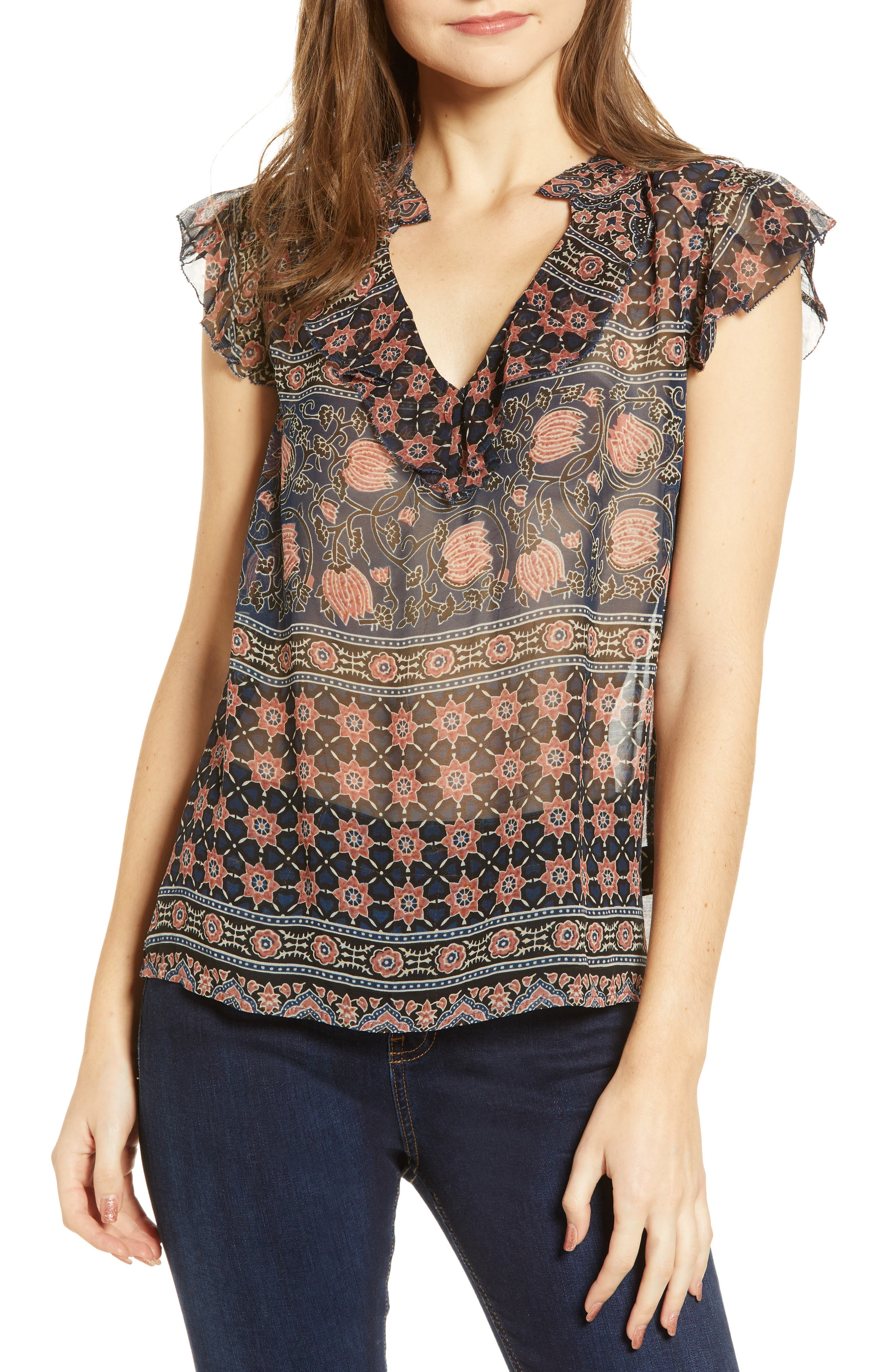 Velvet By Graham & Spencer Tops MONACO PRINT TOP