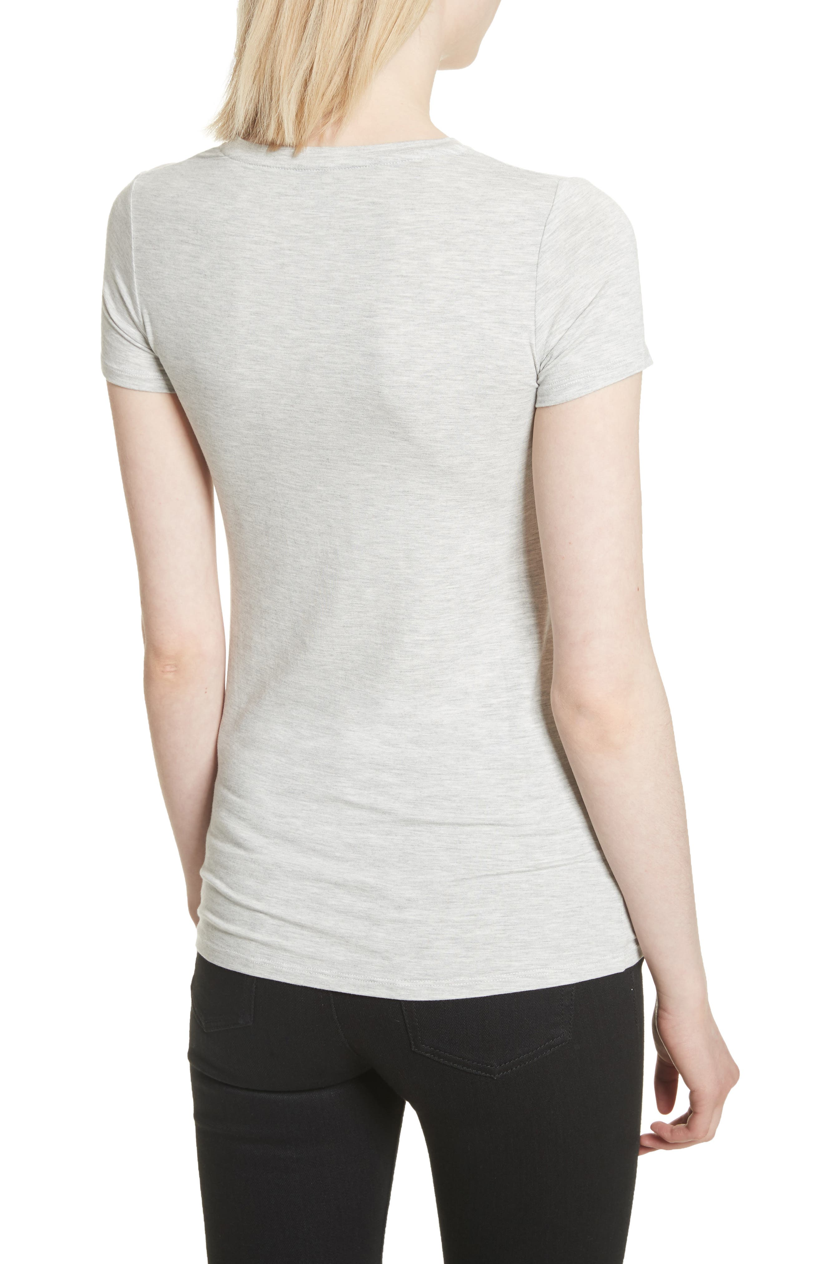 Basic Stretch Knit Top,                             Alternate thumbnail 2, color,                             NACRE CHINE