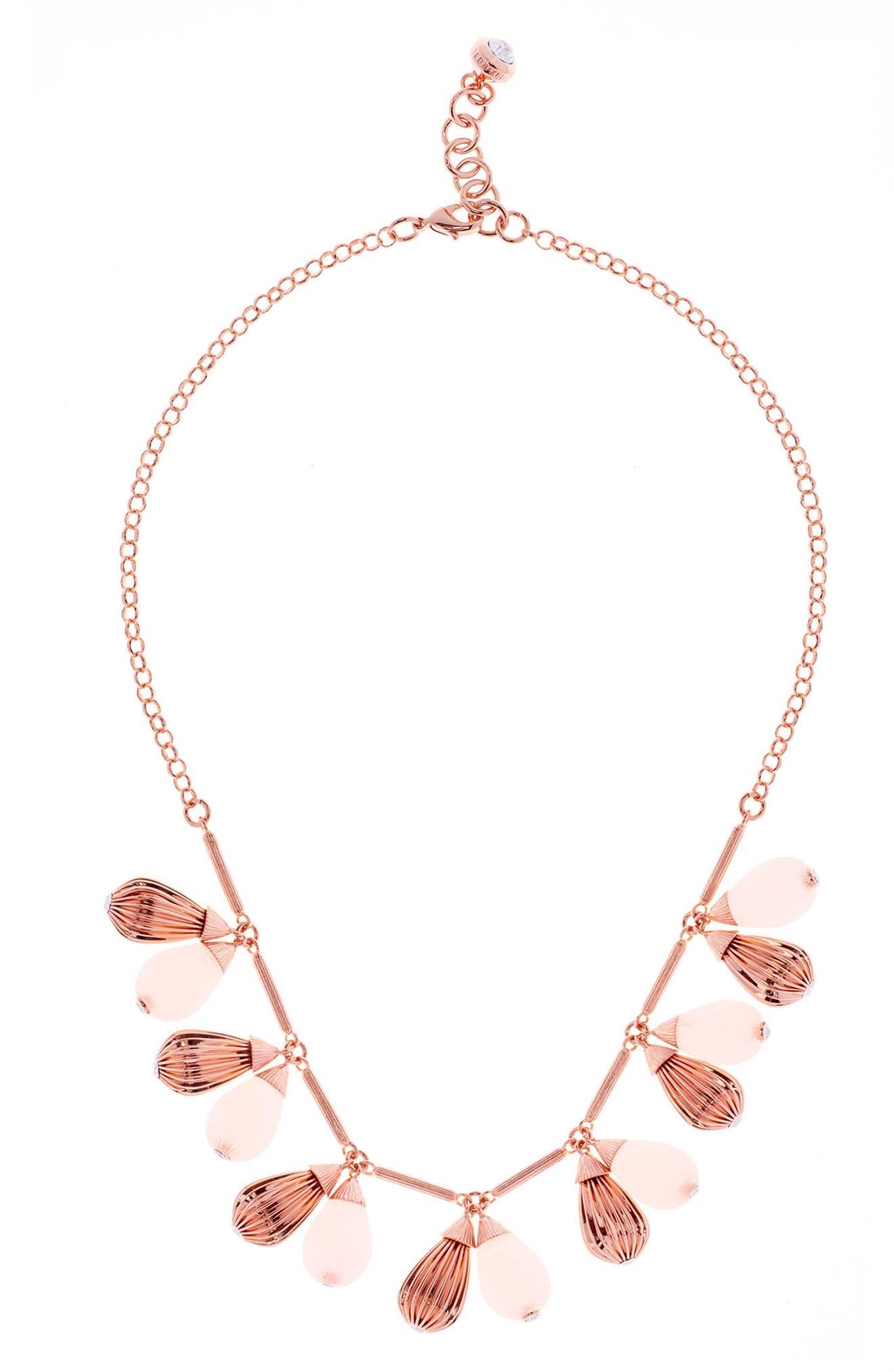 Mini Plissé Drop Necklace,                         Main,                         color, 672