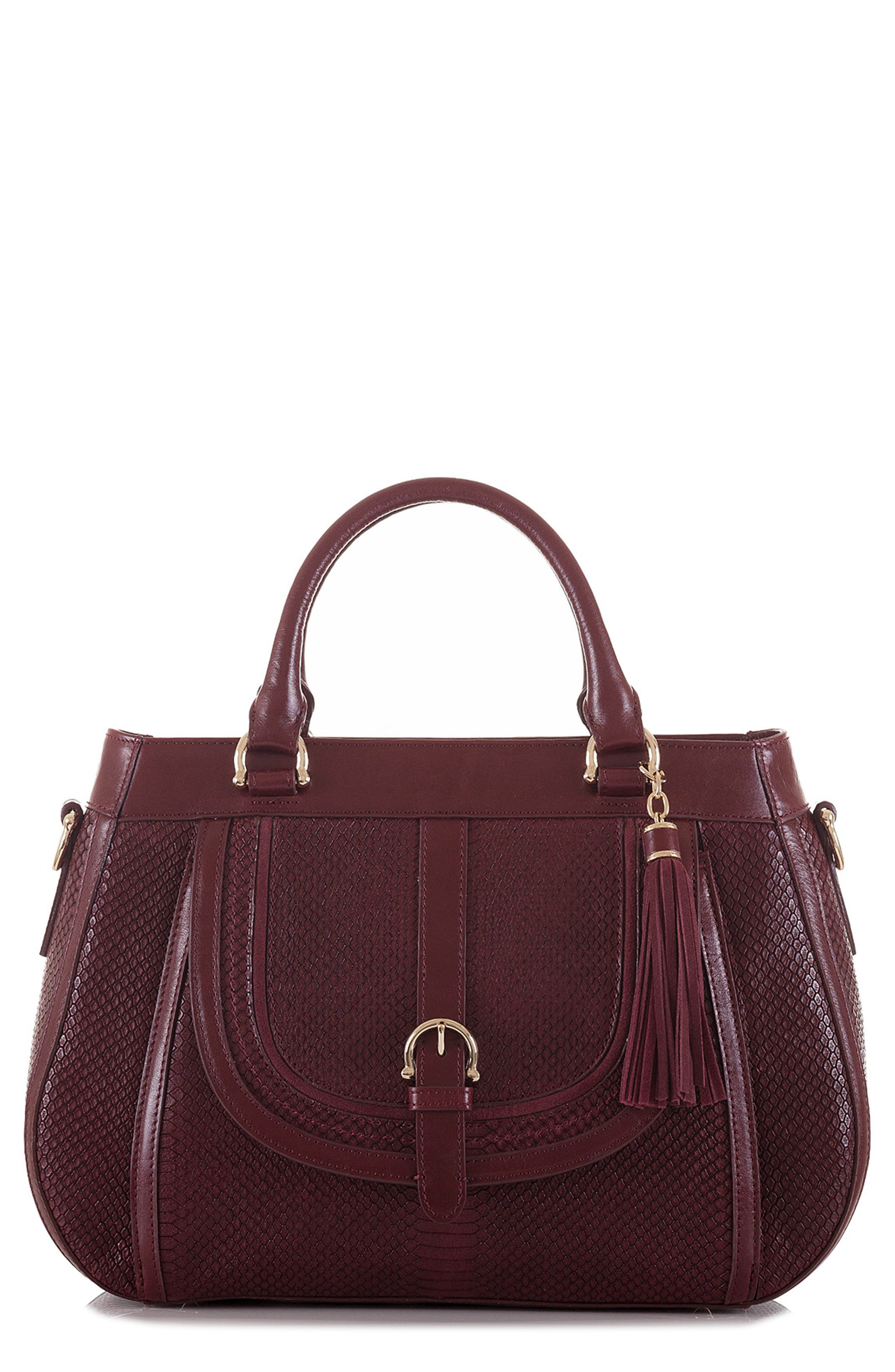 Raelynn Embossed Leather Satchel,                             Main thumbnail 1, color,                             932