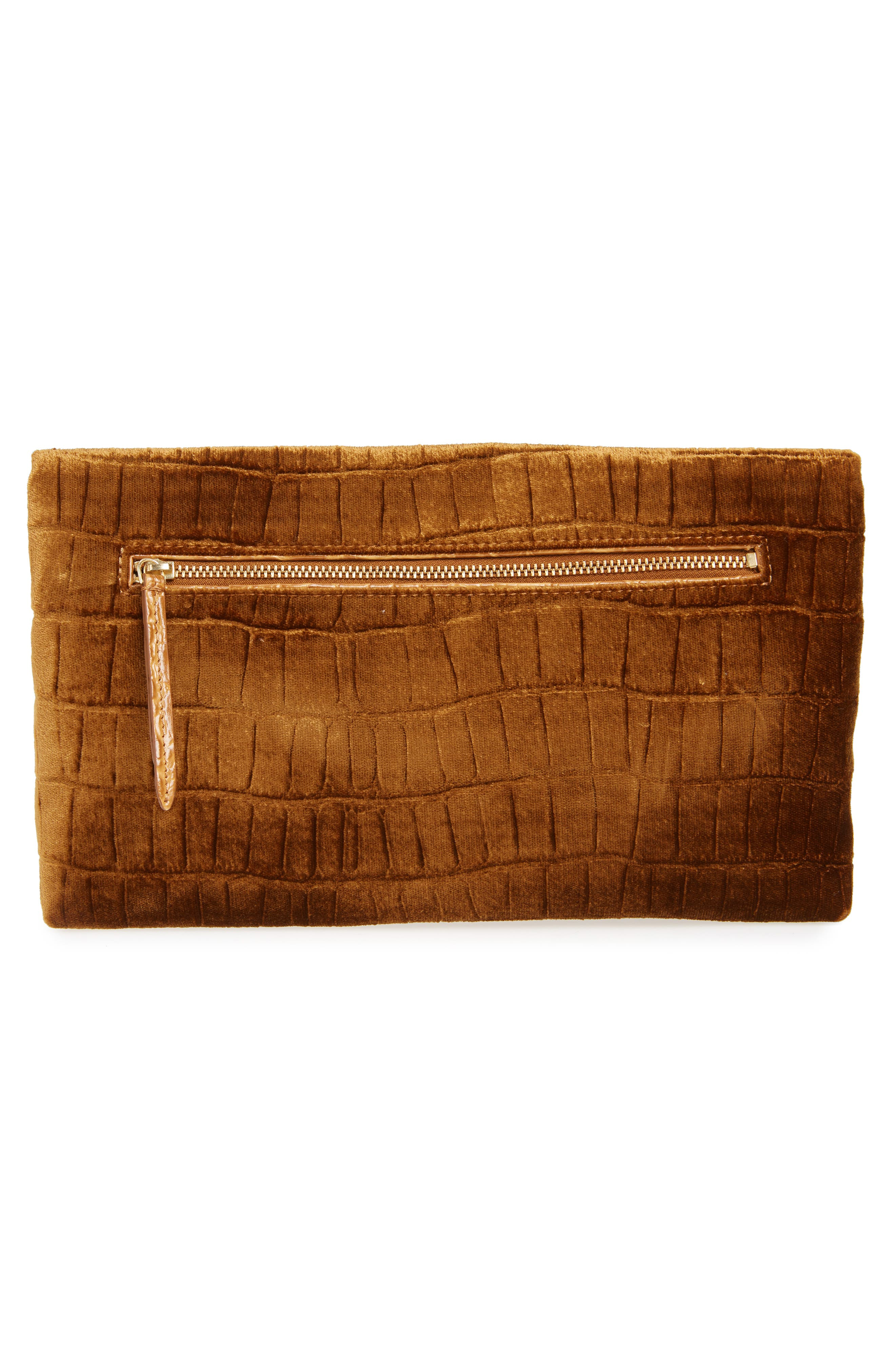 Velvet Envelope Clutch,                             Alternate thumbnail 3, color,                             TAN