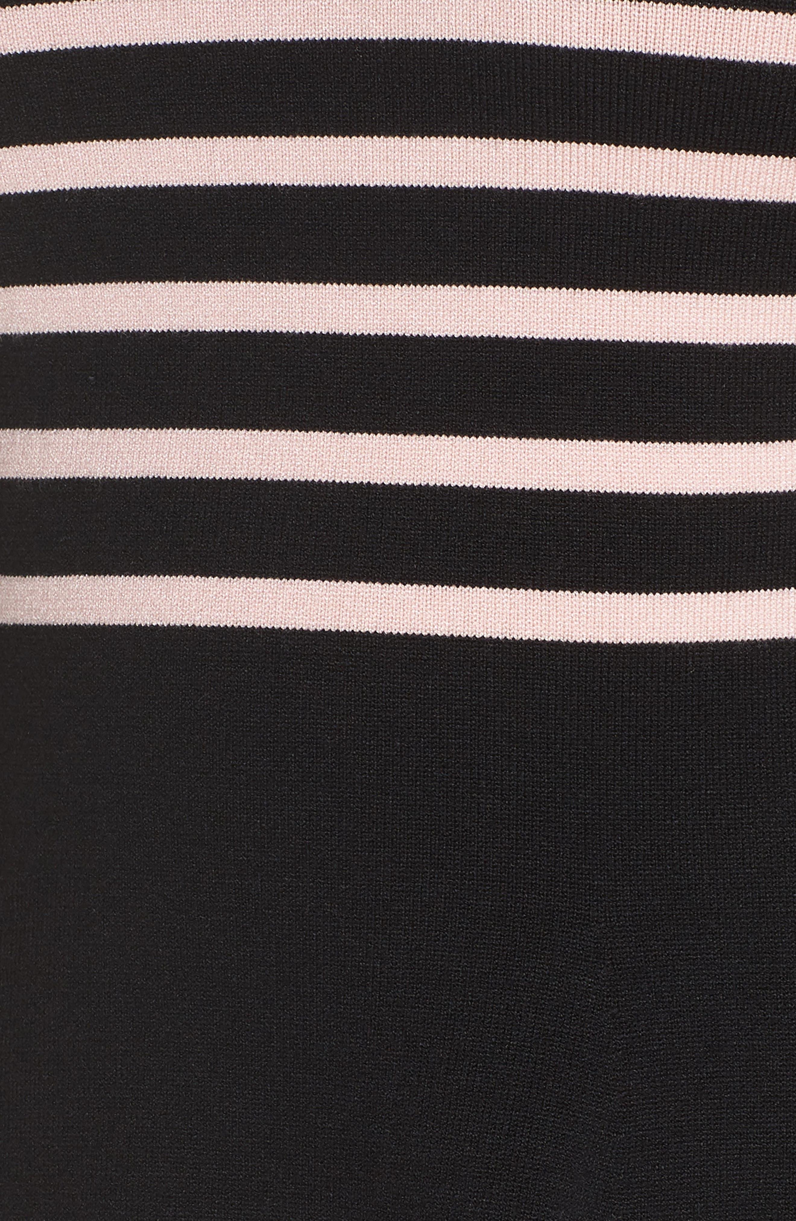 1901,                             Mock Neck Stripe Sweater Dress,                             Alternate thumbnail 6, color,                             BLACK- PINK STRIPE