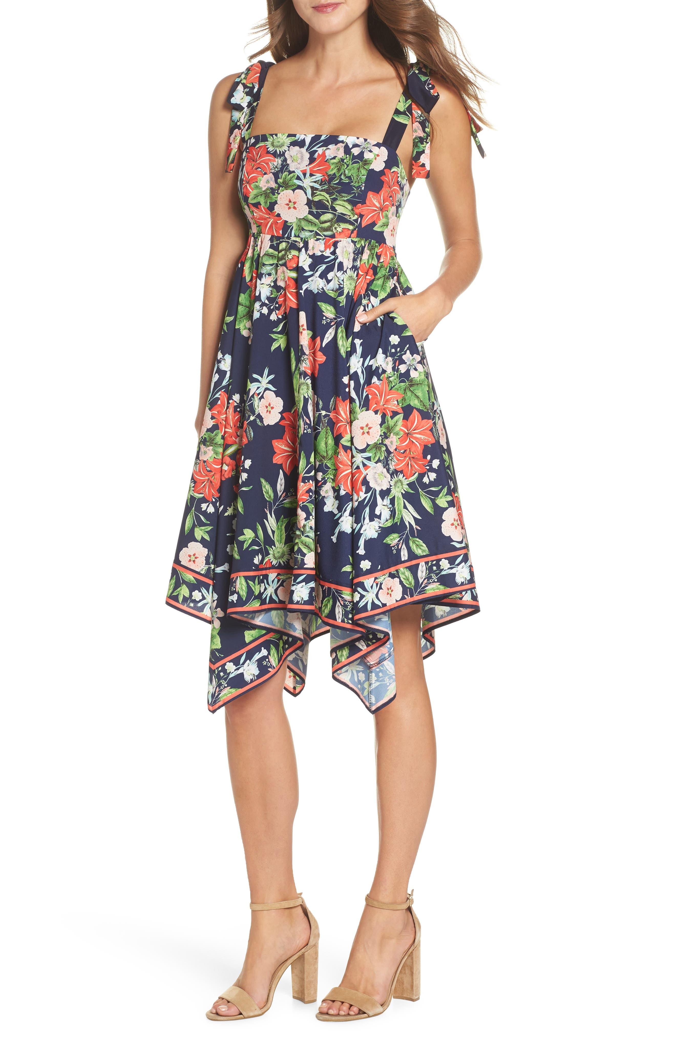 ELIZA J,                             Tie Strap Handkerchief Hem Dress,                             Main thumbnail 1, color,                             410