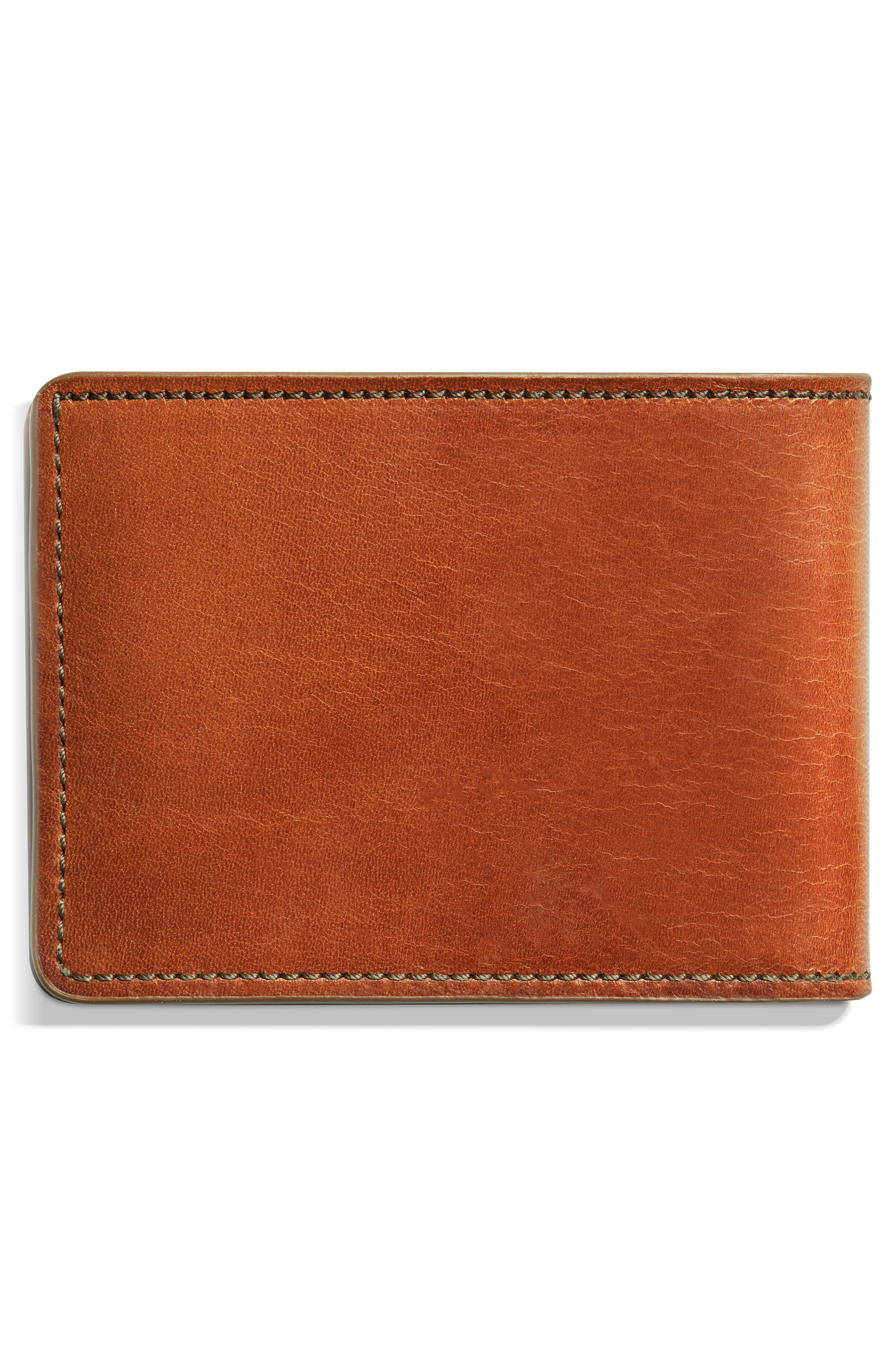Harness Slim 2.0 Bifold Leather Wallet,                             Alternate thumbnail 3, color,                             BOURBON