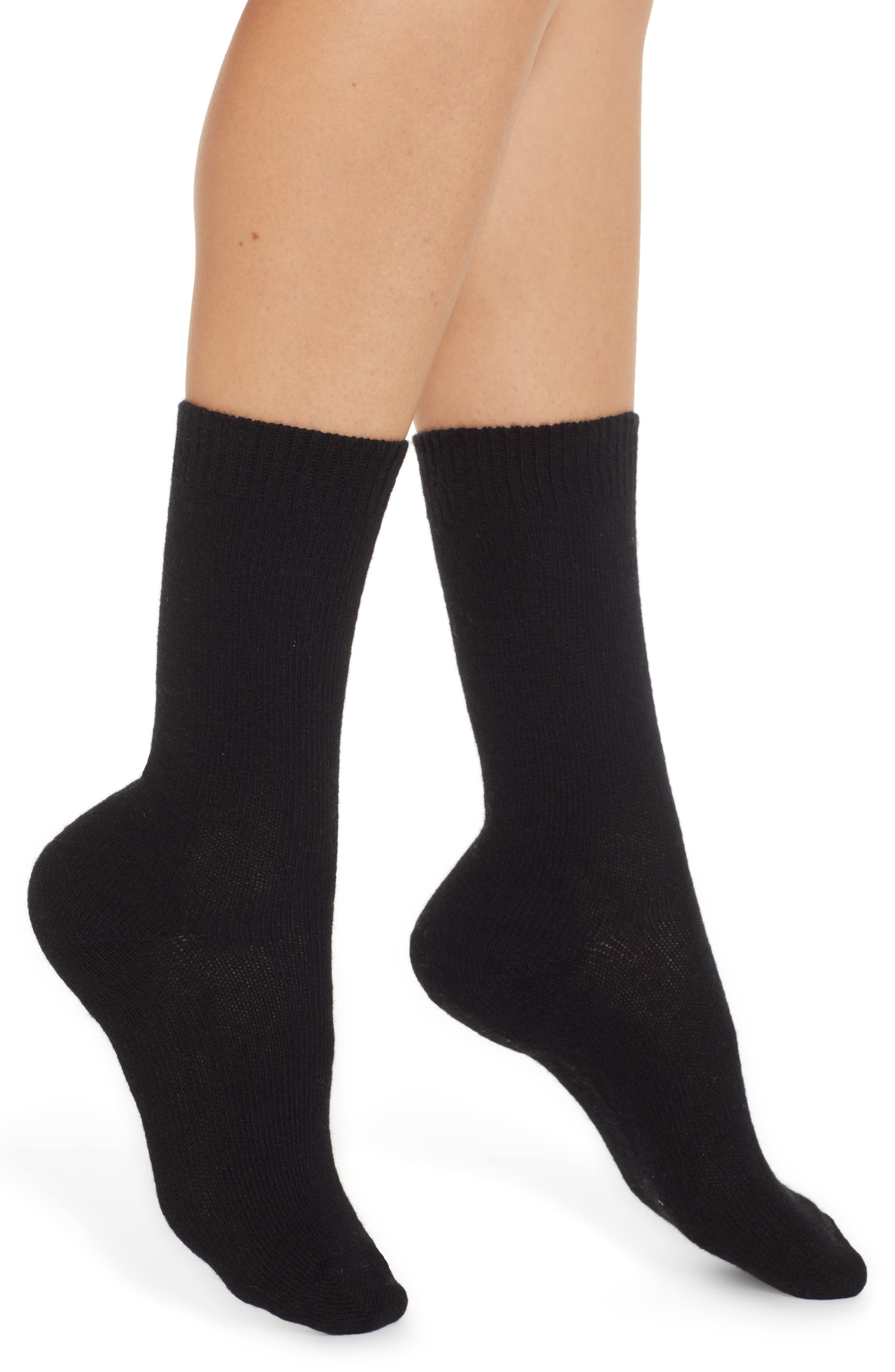 Cashmere Blend Crew Socks,                             Main thumbnail 1, color,                             BLACK