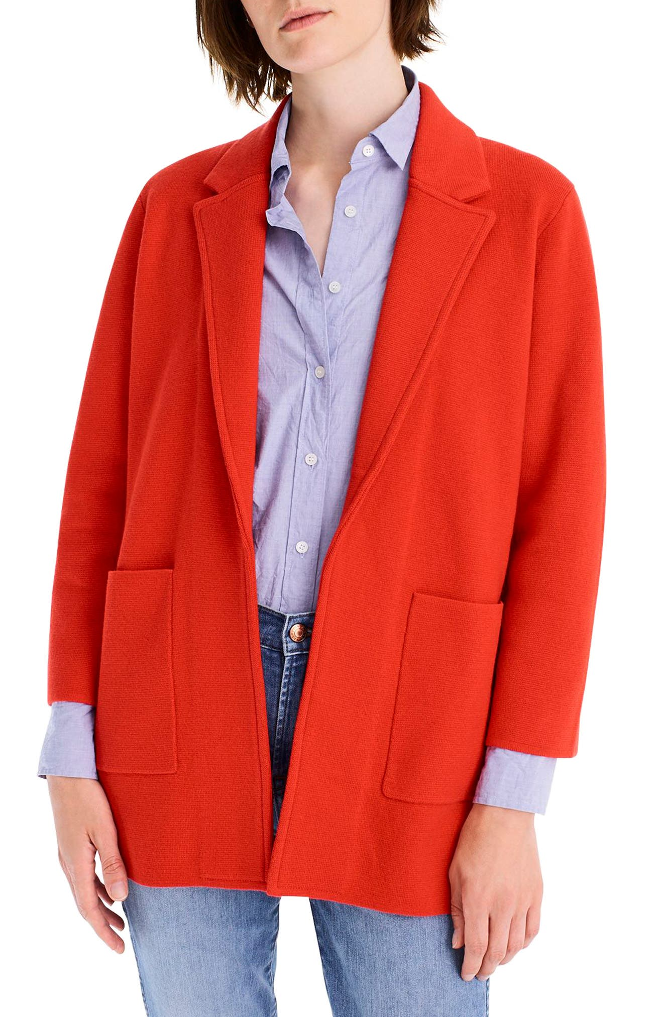 New Lightweight Sweater Blazer,                             Main thumbnail 1, color,                             BRIGHT CERISE
