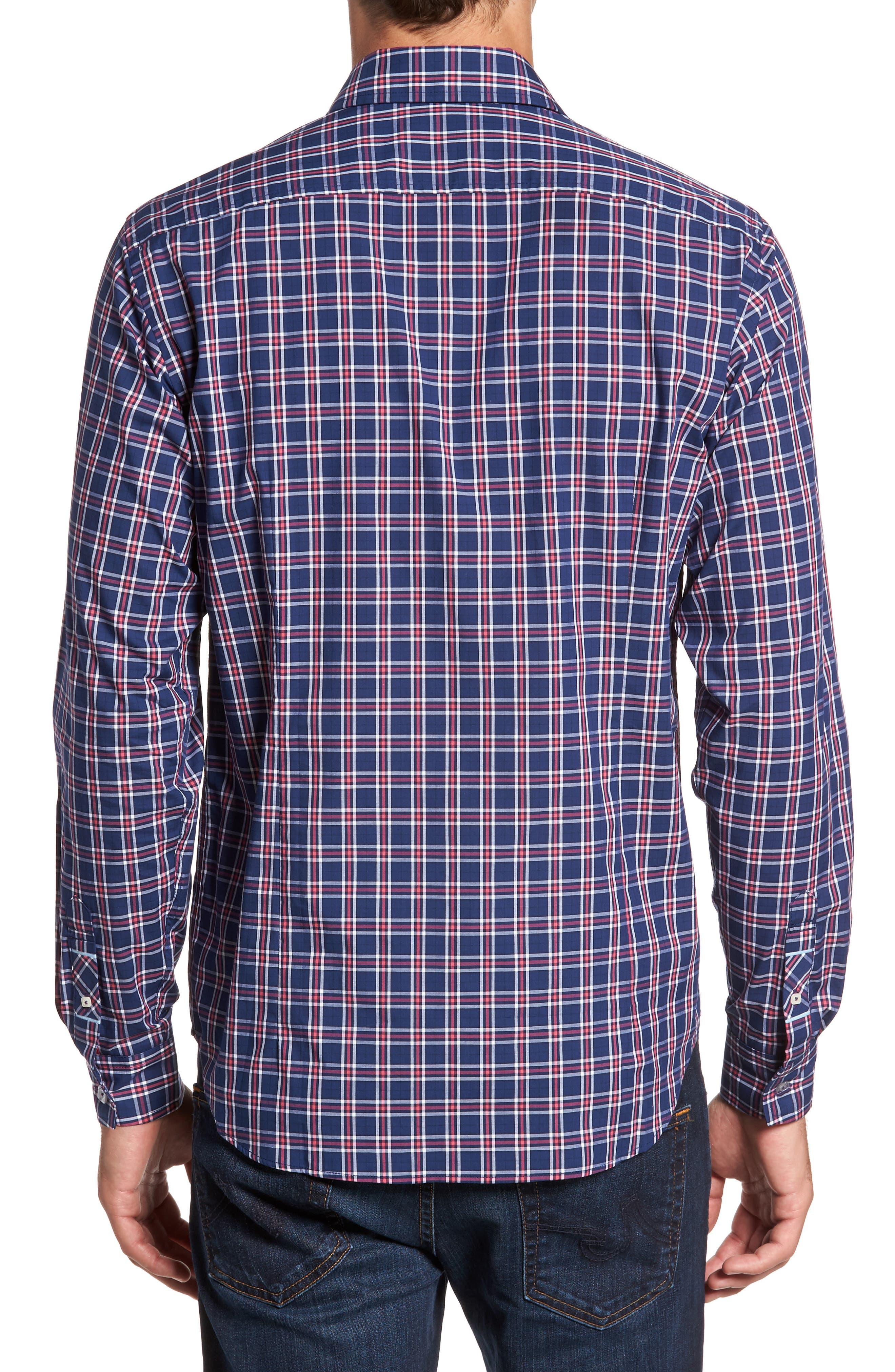 Slim Fit Plaid Sport Shirt,                             Alternate thumbnail 2, color,                             412