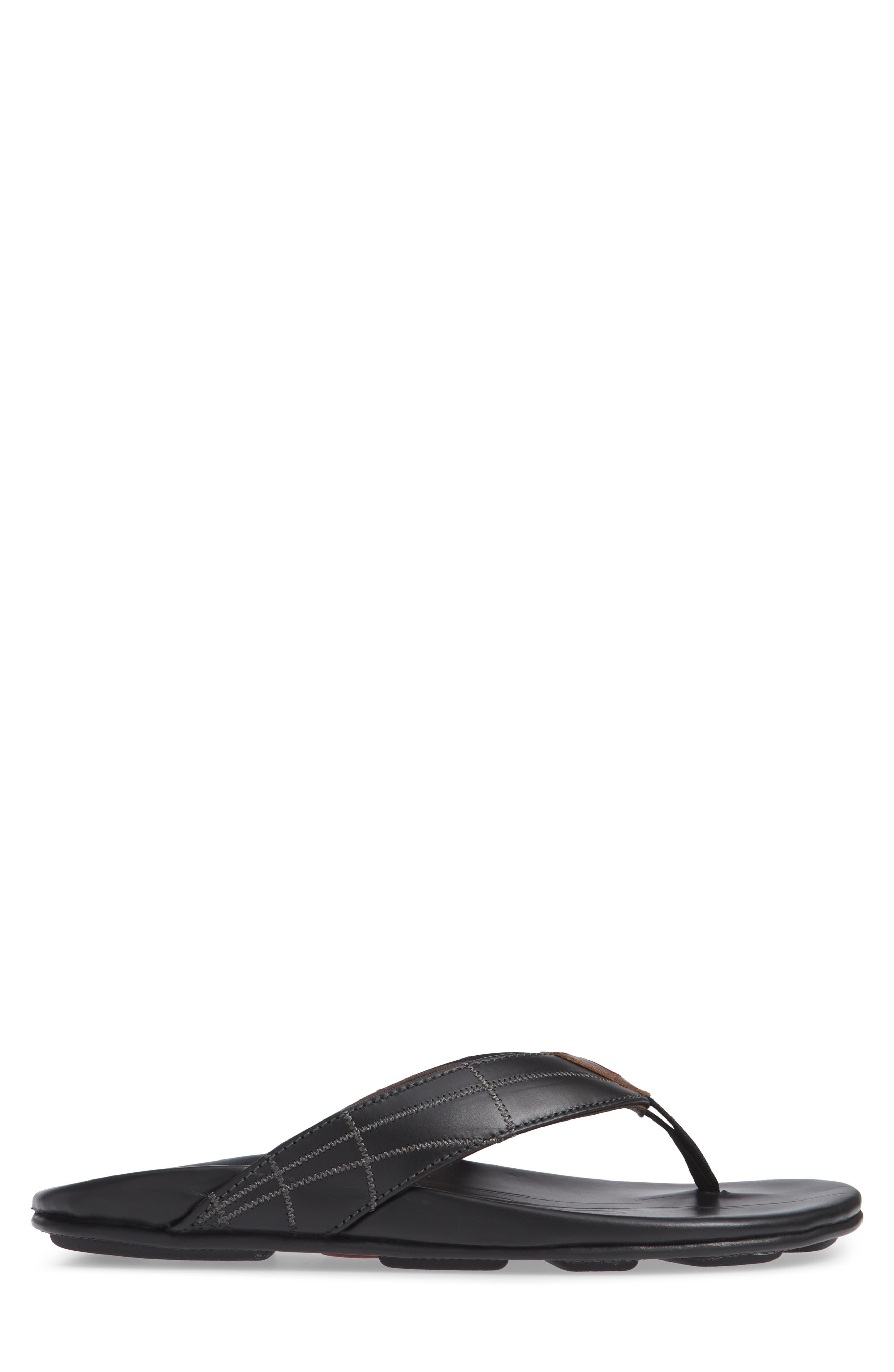 Hokule A Kia Flip Flop,                             Alternate thumbnail 3, color,                             BLACK/ BLACK