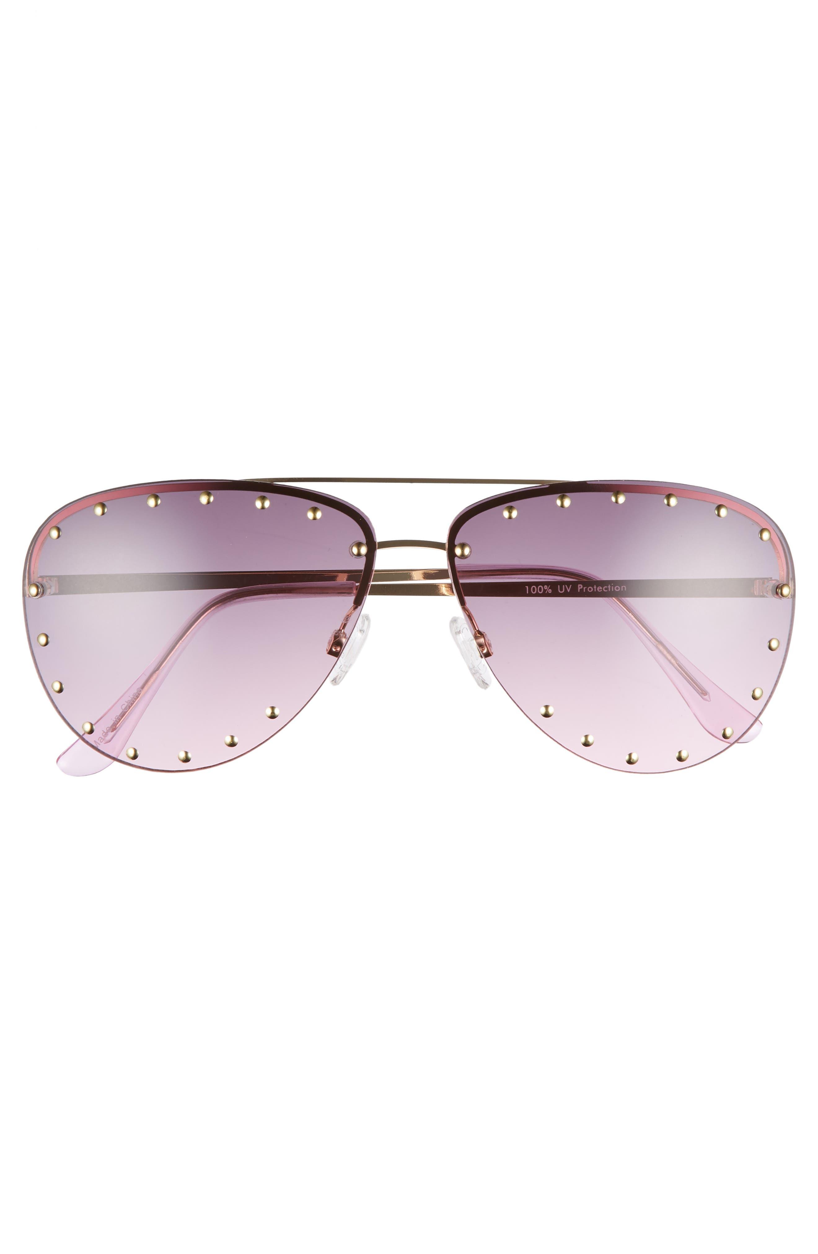 63mm Studded Aviator Sunglasses,                             Alternate thumbnail 6, color,