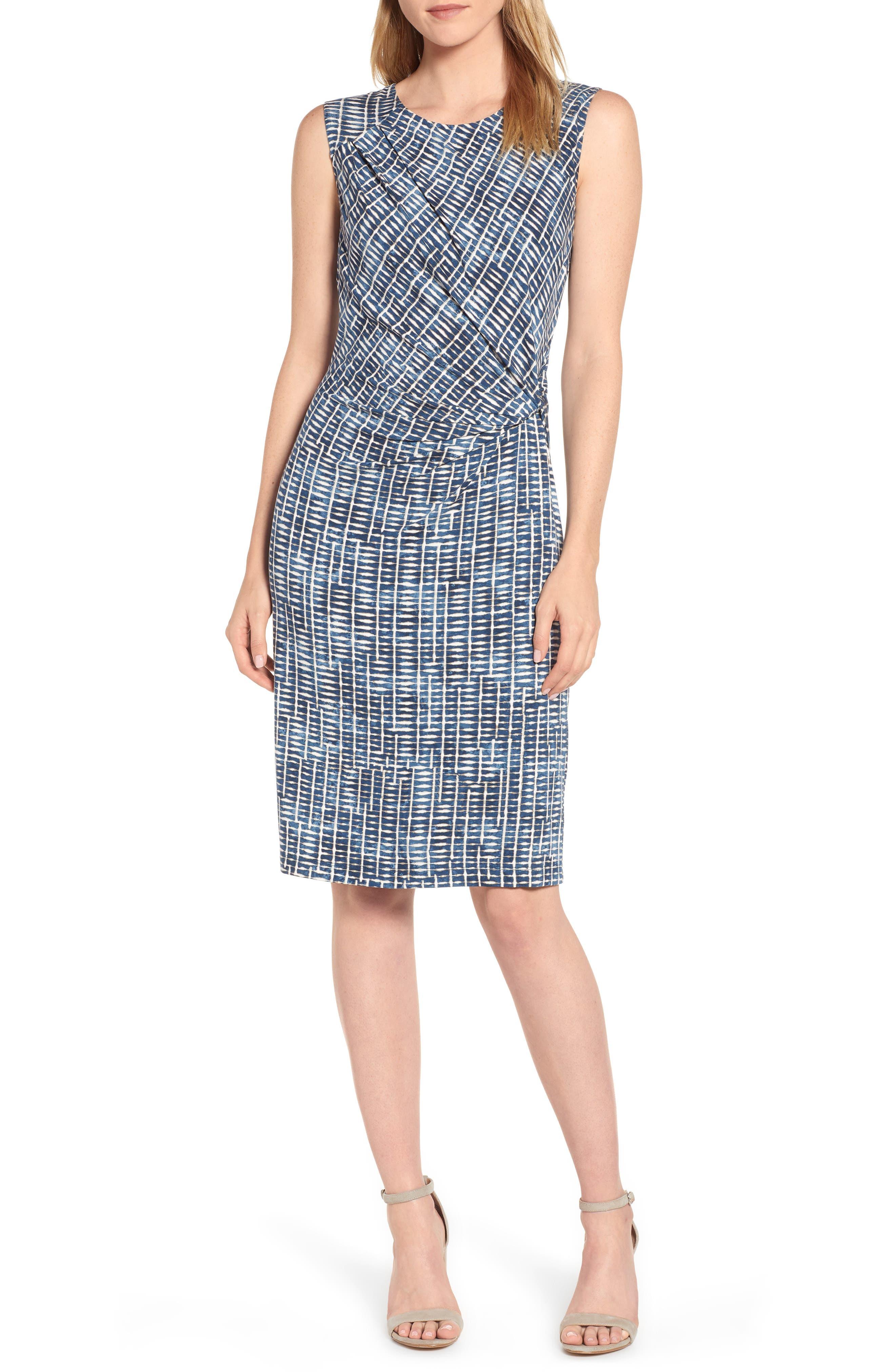 Petite Nic+Zoe Lattice Twist Front Sleeveless Dress, Blue