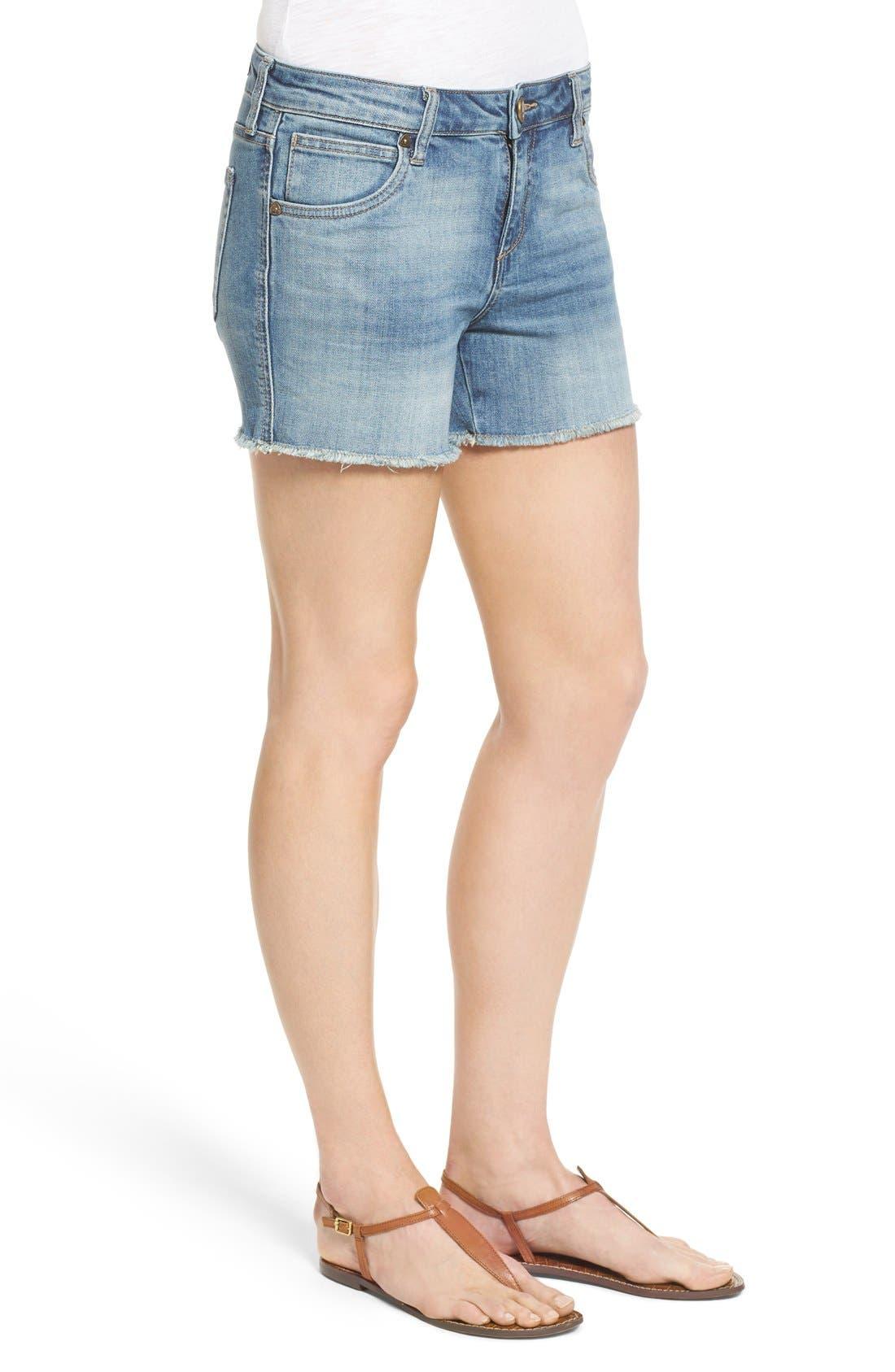 'Gidget' Denim Cutoff Shorts,                             Alternate thumbnail 4, color,                             420