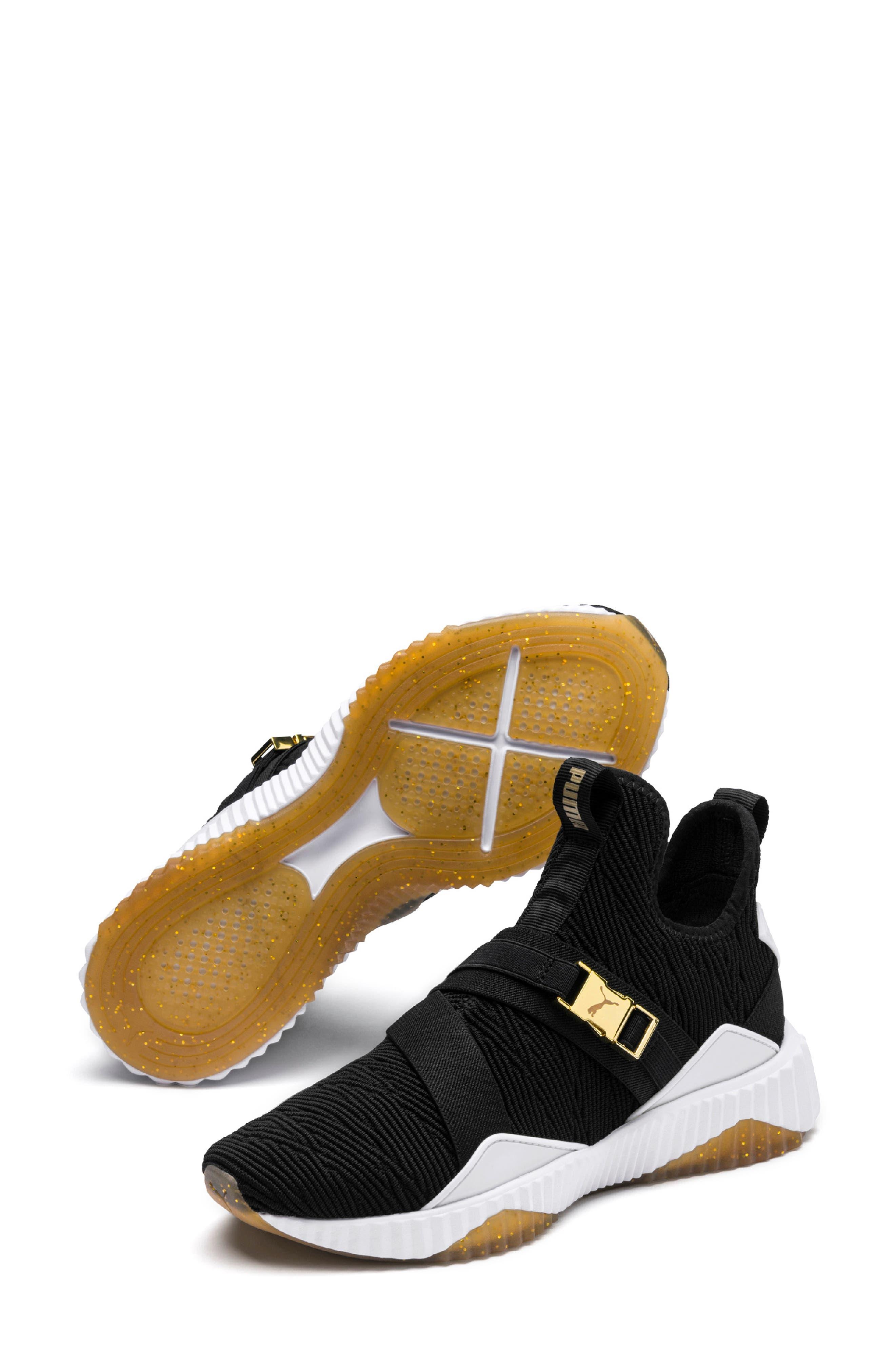 Defy Mid Varsity Sneaker,                         Main,                         color, PUMA BLACK/ METALLIC GOLD