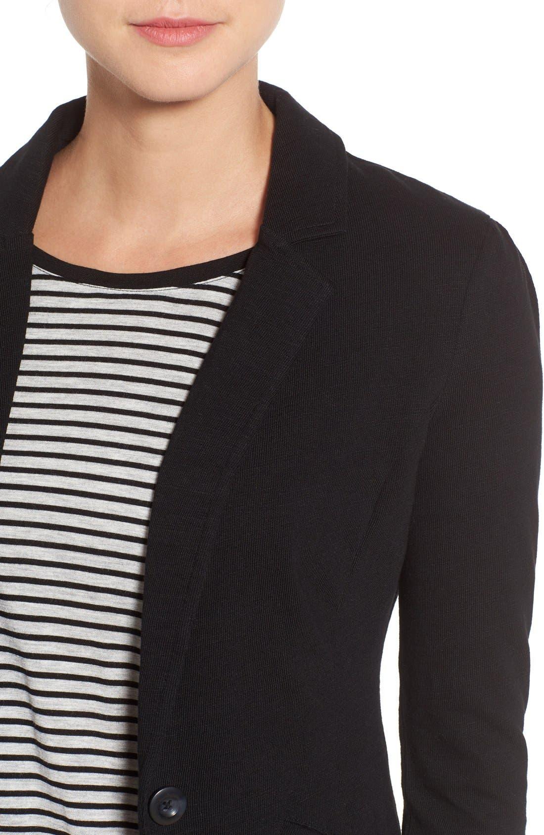 CASLON<SUP>®</SUP>,                             Knit One-Button Blazer,                             Alternate thumbnail 8, color,                             BLACK