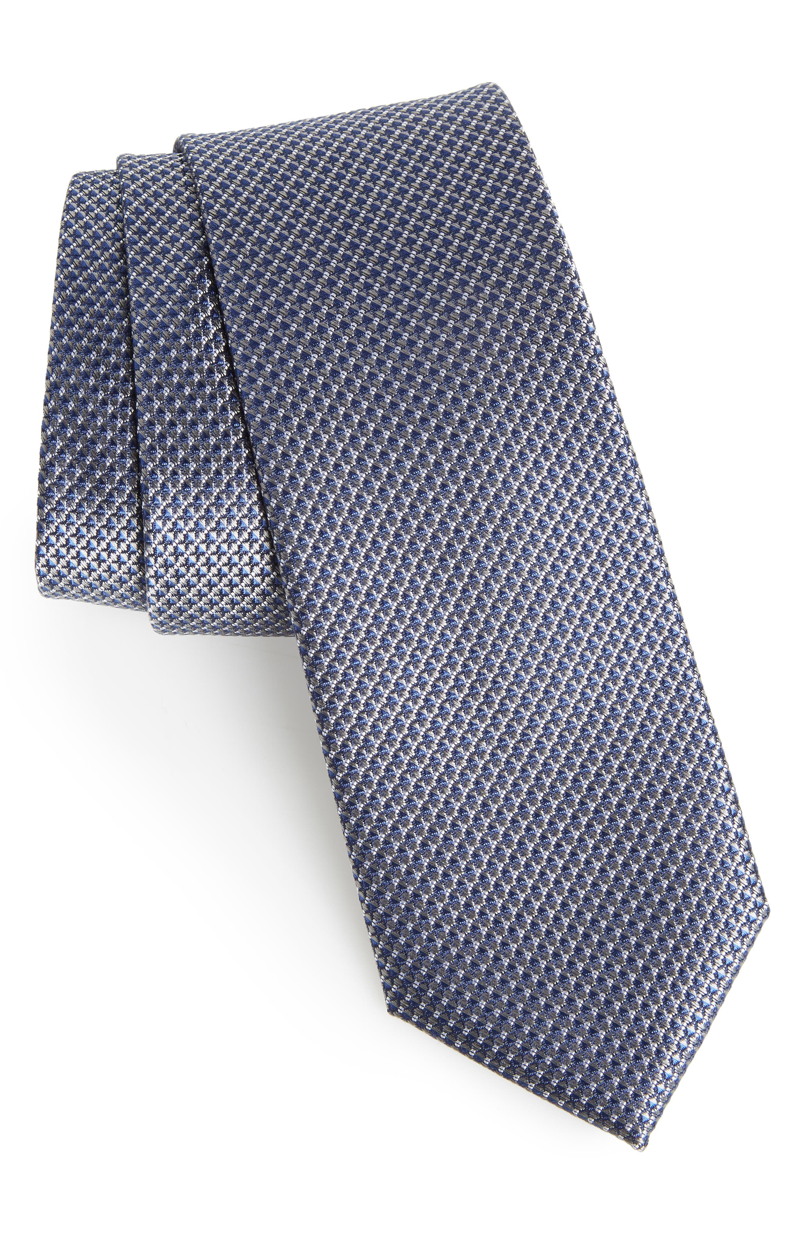 Anser Solid Silk Tie,                         Main,                         color, CHARCOAL