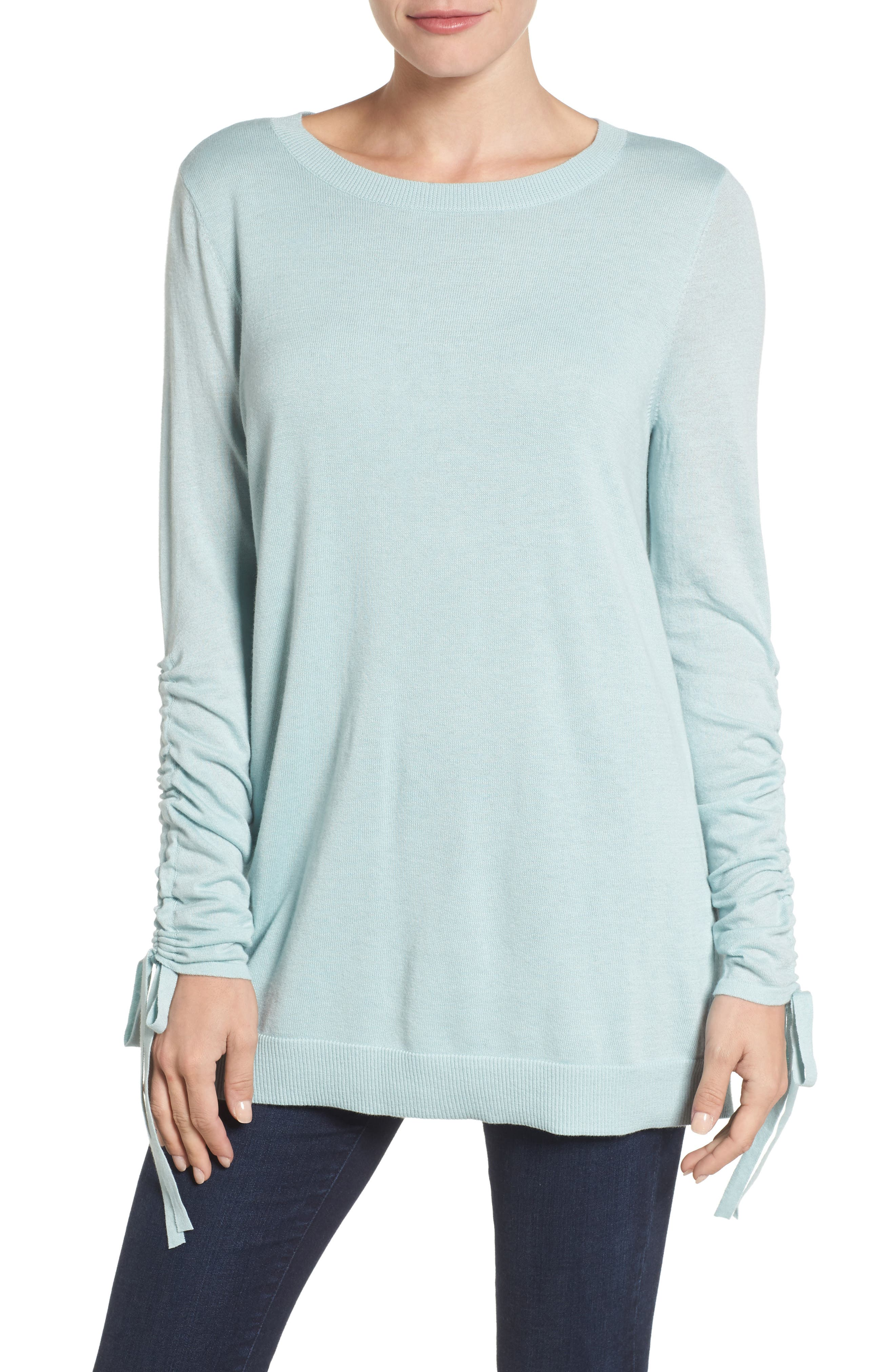 Ruched Sleeve Tunic Sweater,                             Main thumbnail 4, color,