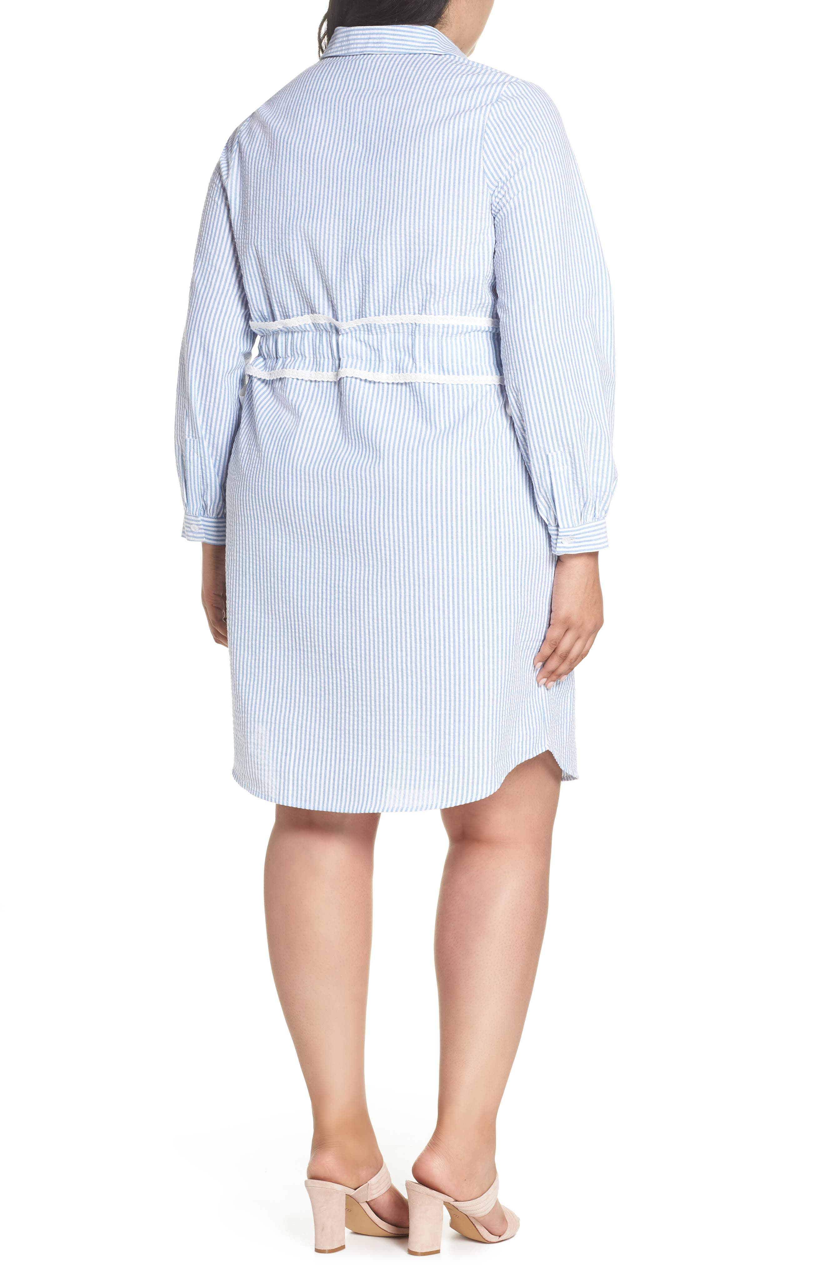 Side Tie Stripe Shirtdress,                             Alternate thumbnail 2, color,                             461